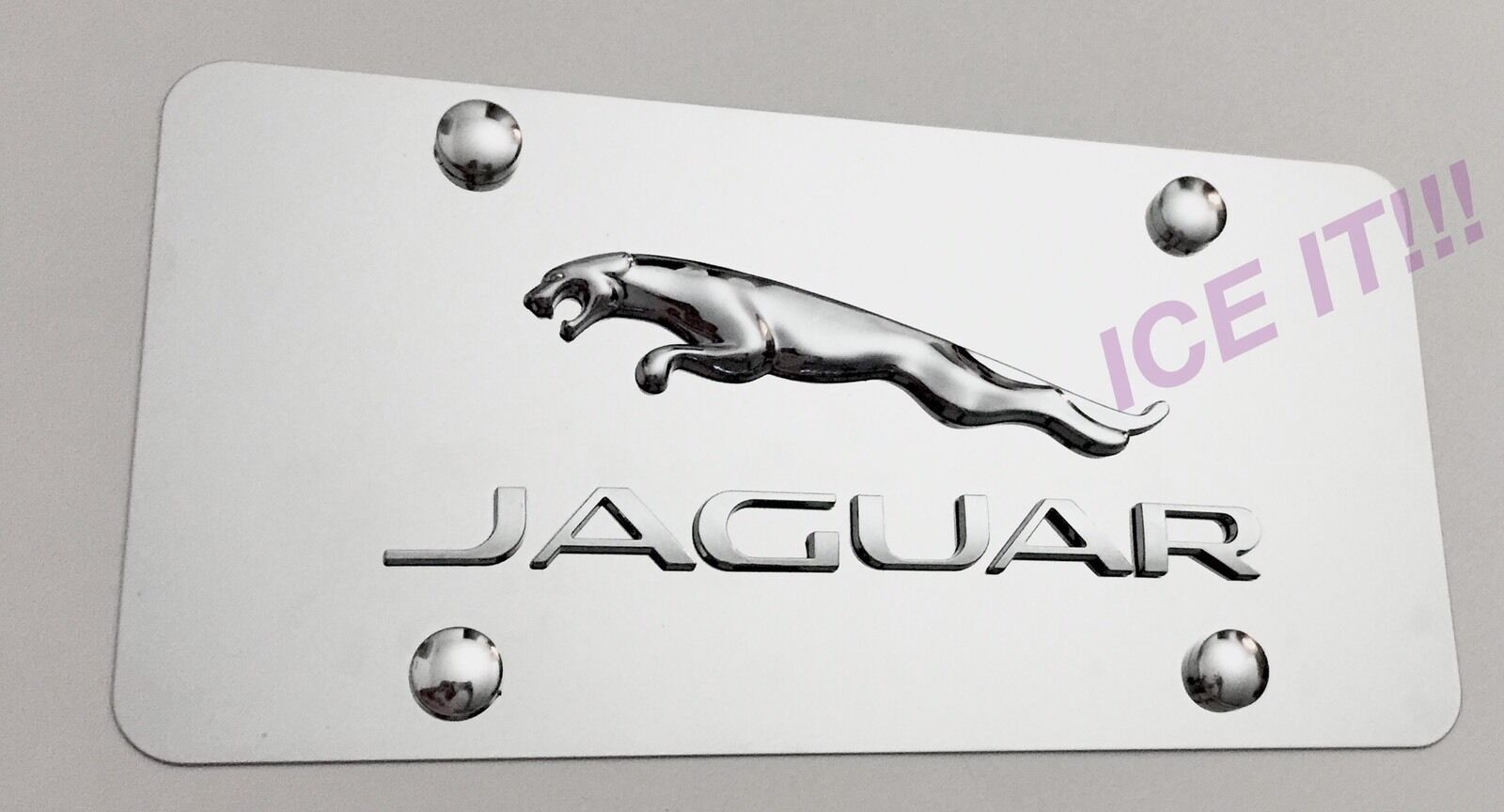 JAGUAR 3D FRONT Mirror Stainless Steel Heavy Duty 1mm License plate ...