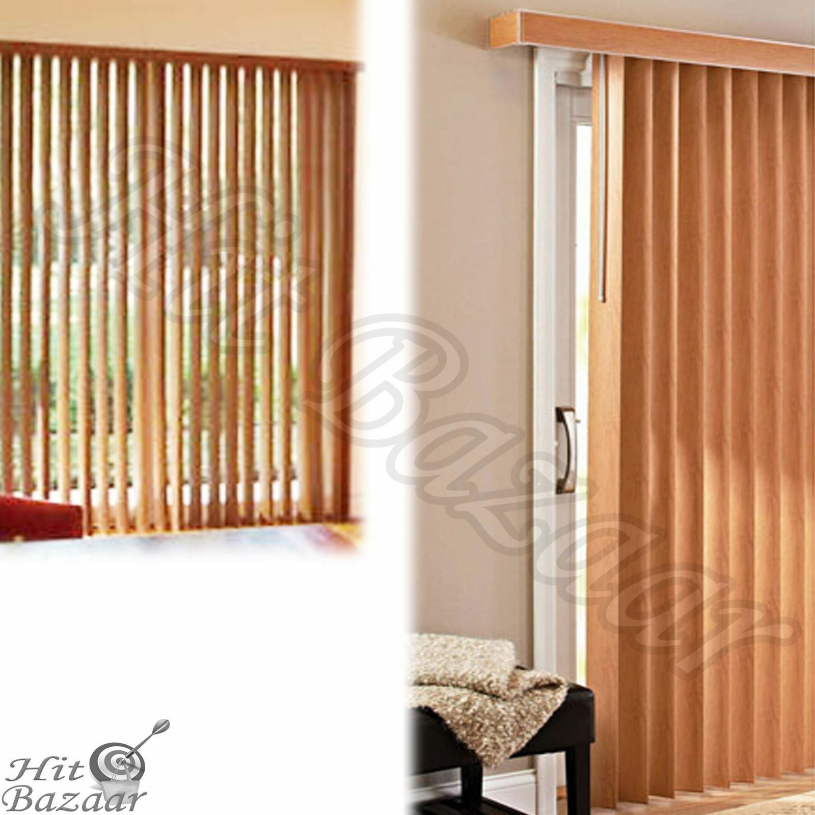 9 Of 12 Vertical Blinds Garden Pvc Privacy Shades Patio Home Window Large Printed Oak 10