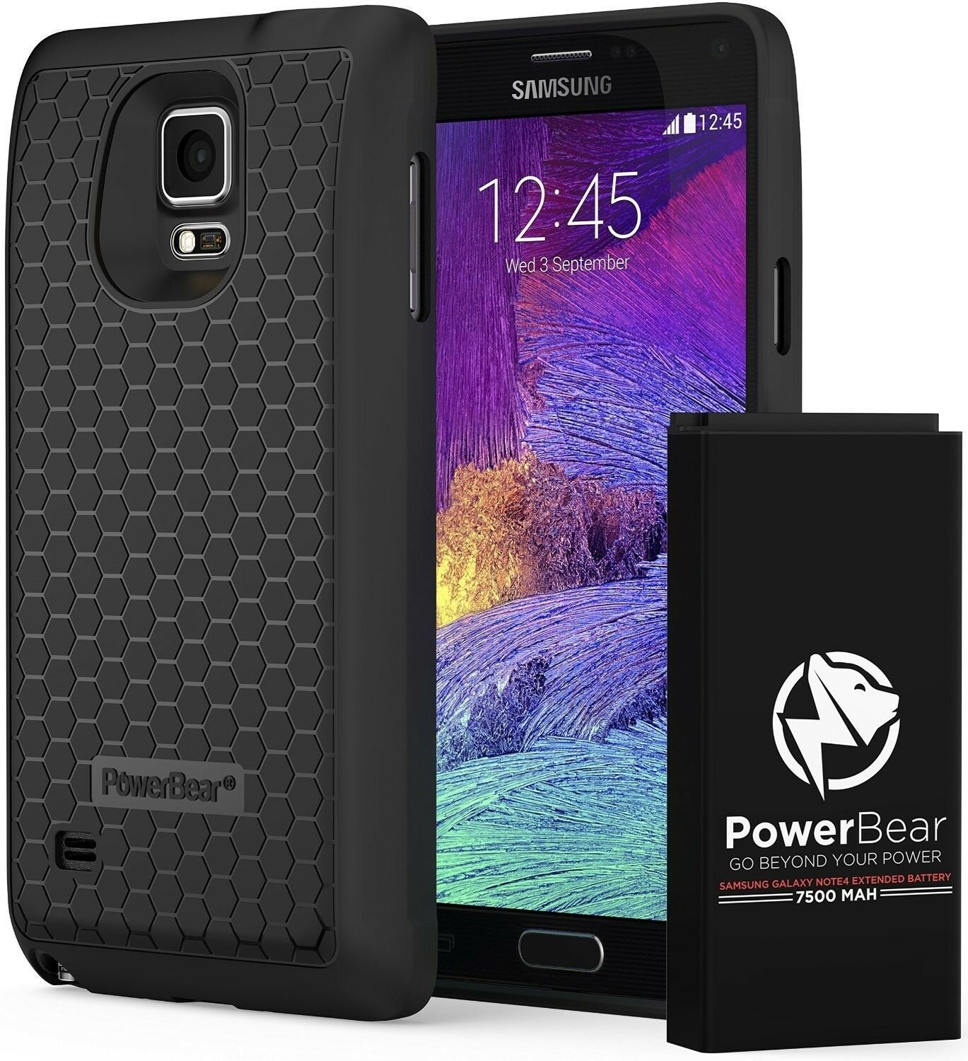 Powerbear Samsung Galaxy Note 4 Extended Battery 7500mah Back Cover 2 Original 3600mah 1 Of 7only Available