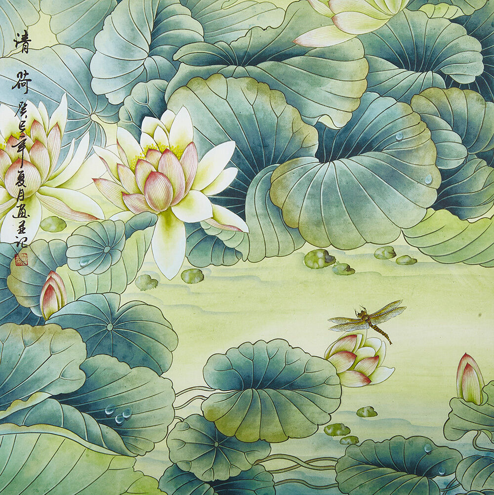 18 Silk Brocade Flower Chinese Brush Painting Watercolor Virtue Of