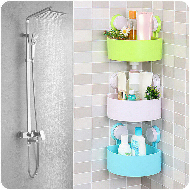 BATHROOM SHELF CORNER Shower Shelf Rack Bath Storage Plastic Suction ...