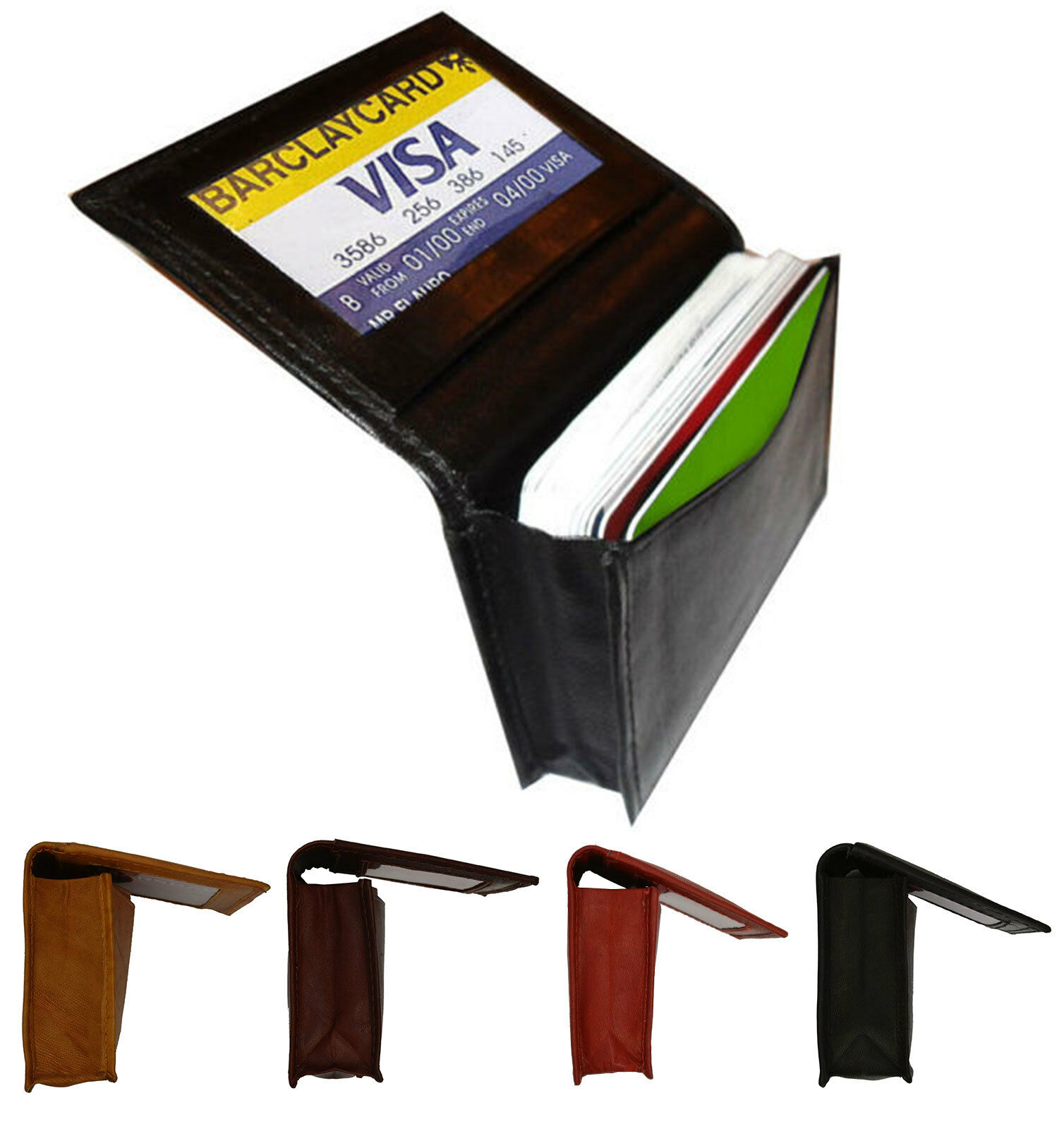 Genuine leather 18 credit card id business card holder mens front genuine leather 18 credit card id business card holder mens front pocket wallet 1 of 7free shipping see more colourmoves