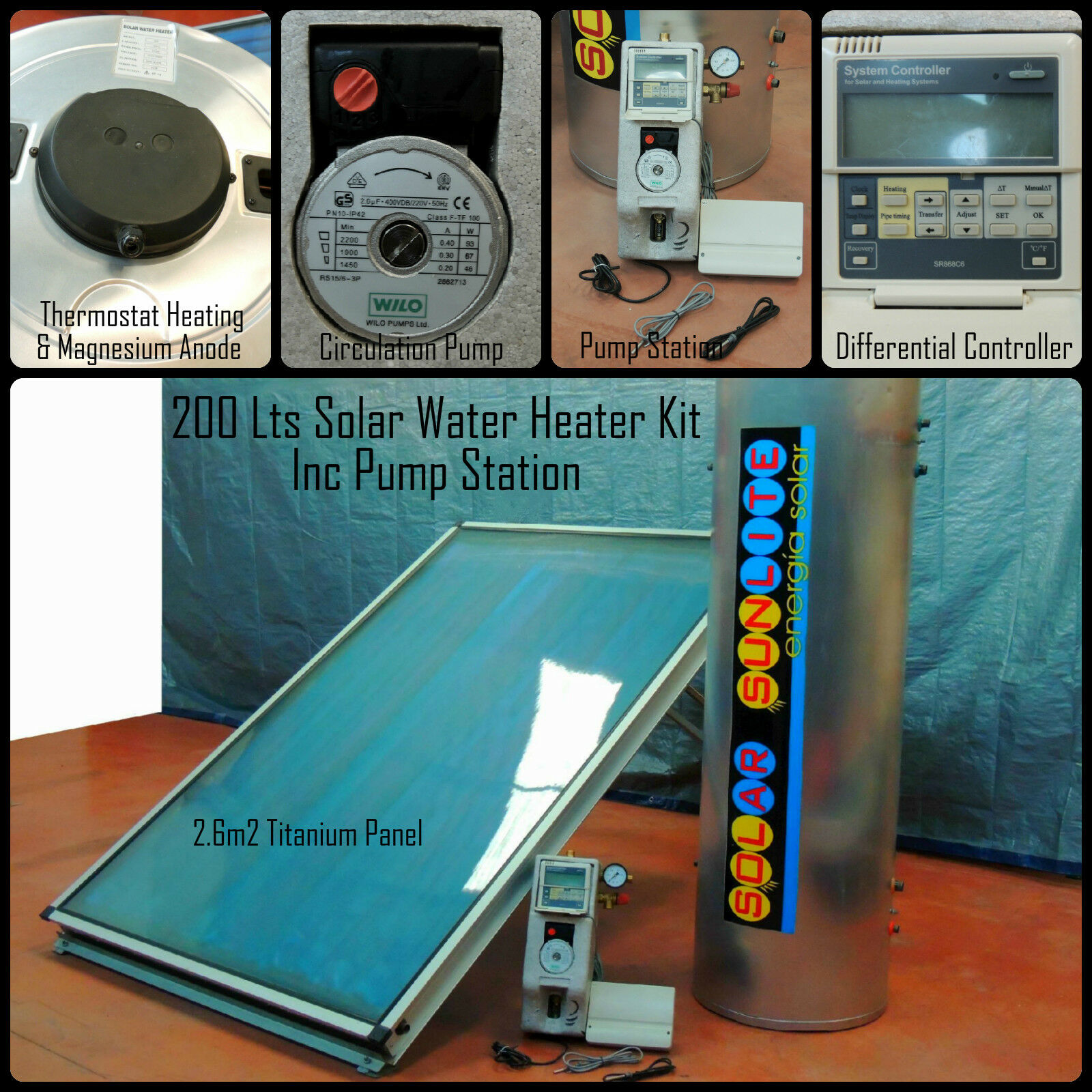 200 LT SOLAR Energy Thermal Panel Hot Water Heating System Kit Inc ...