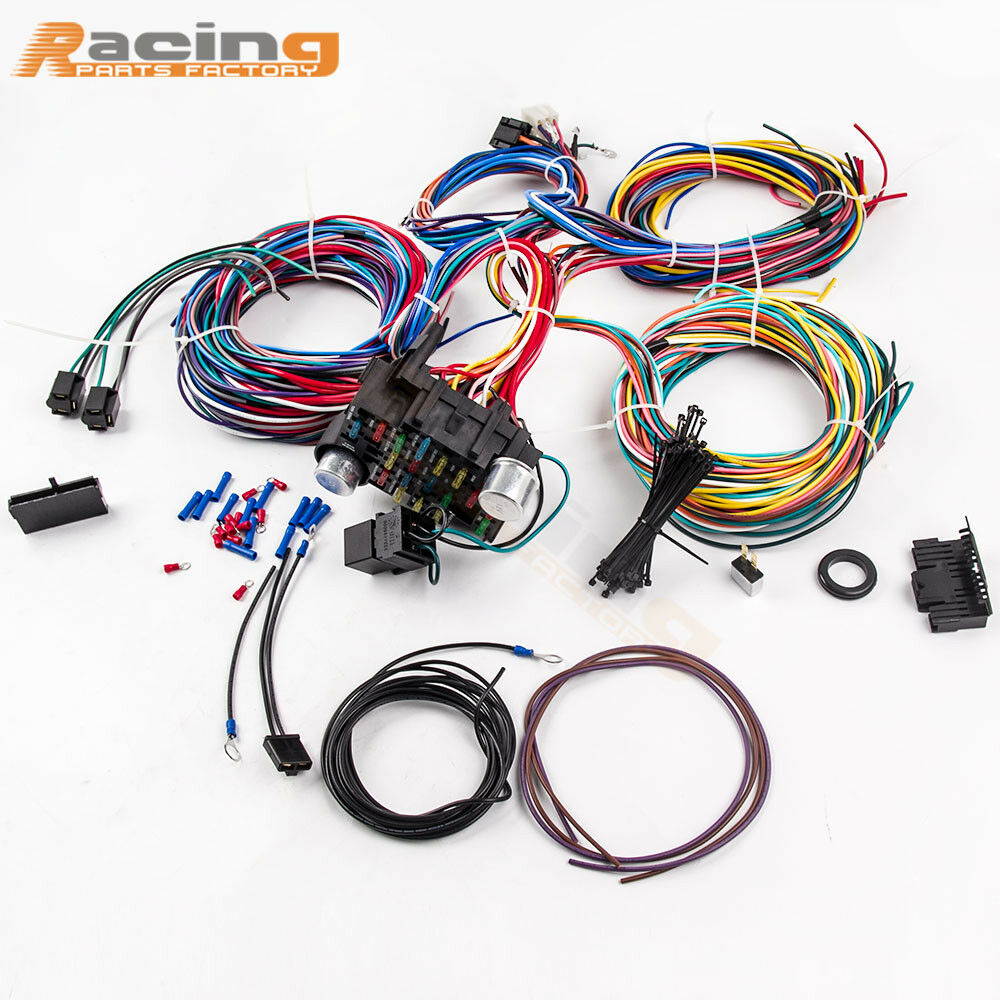 21 Circuit 17 Fuses Wiring Harness Hot Rod Universal Wire Kit Extra Cj3a 1 Of 11only 0 Available