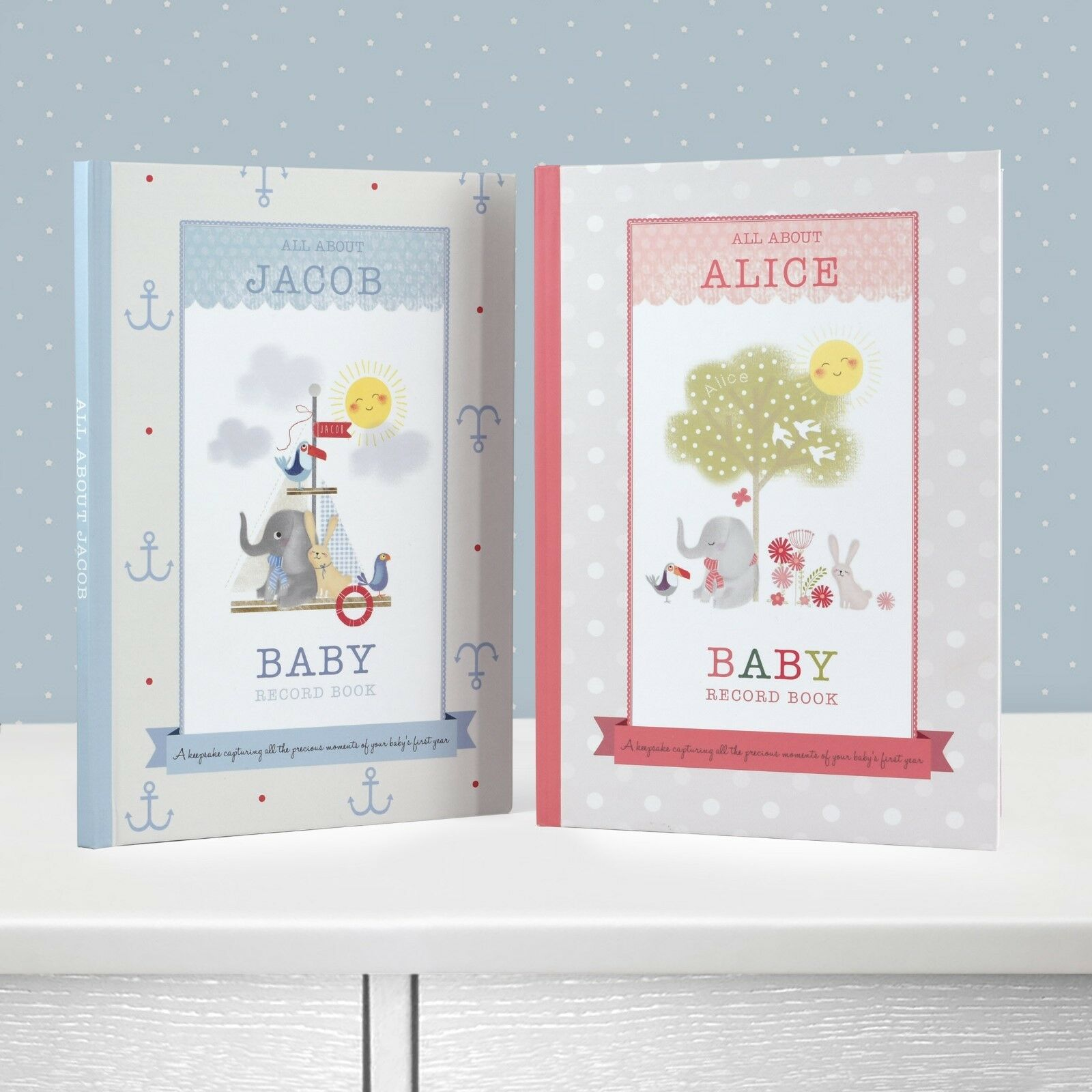 boxed personalised nursery rhymes baby record book boy girl