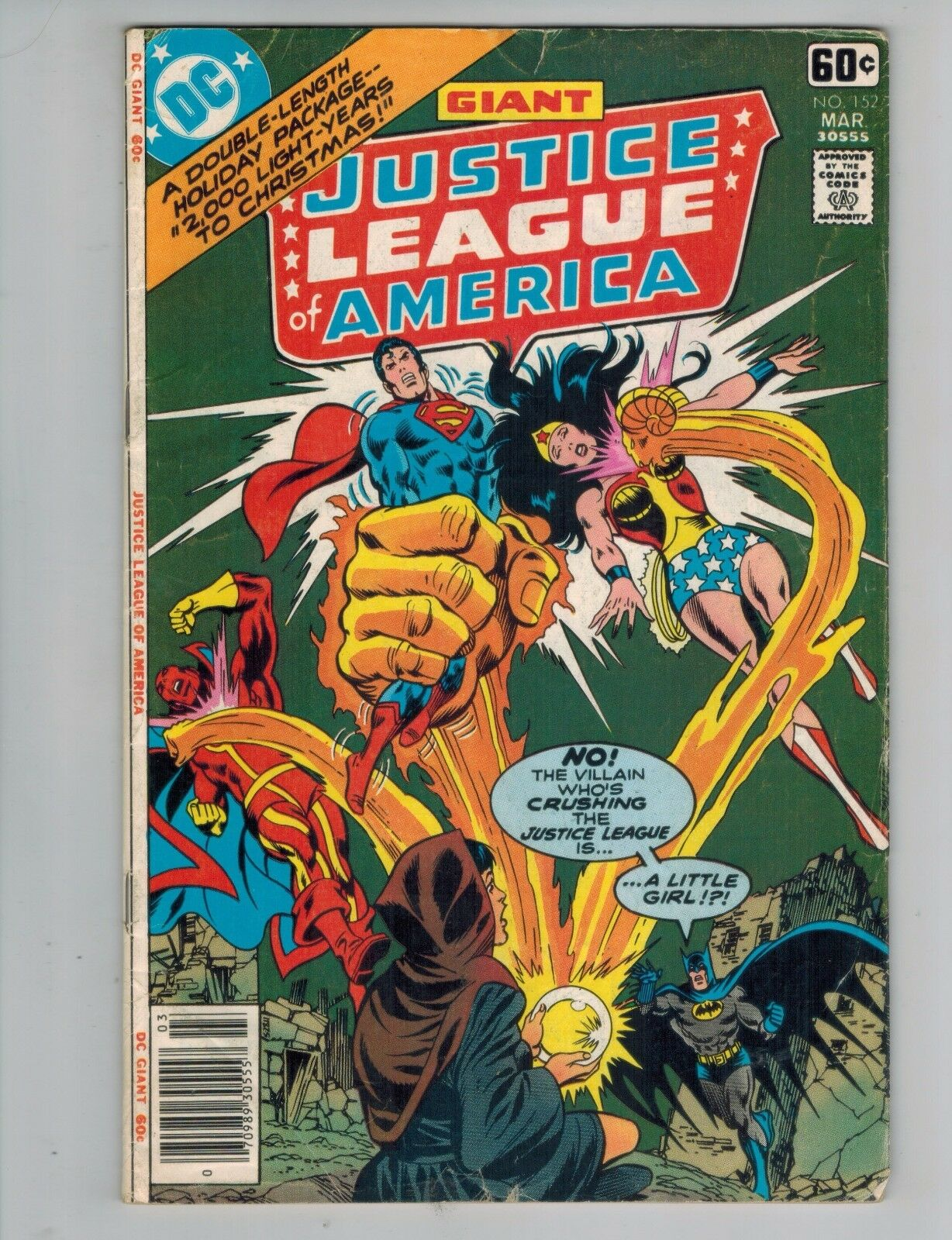 JUSTICE LEAGUE OF America 152 JLA Christmas Issue Giant 1978 VG ...