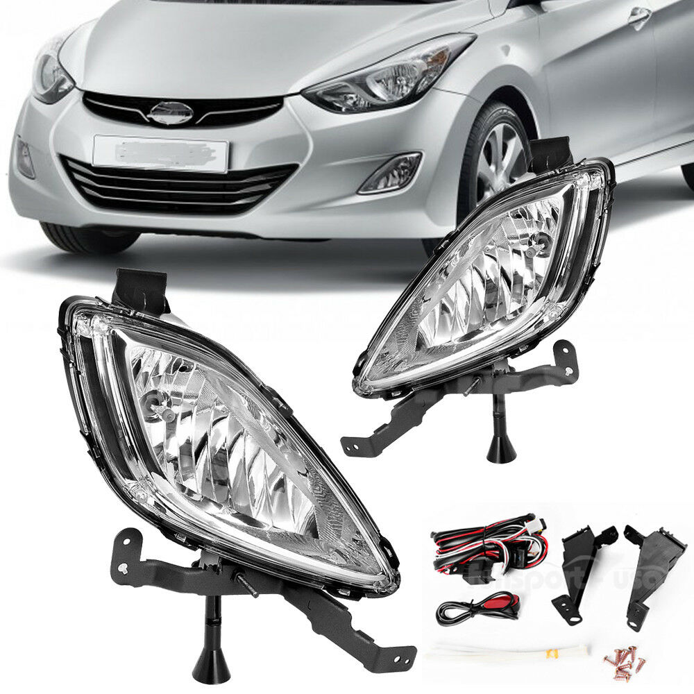 For 2011 2013 Hyundai Elantra Clear Front Bumper Fog Lights Lamps With Switch Wiring Replacement Ebay 1 Of 7only 5 Available See More