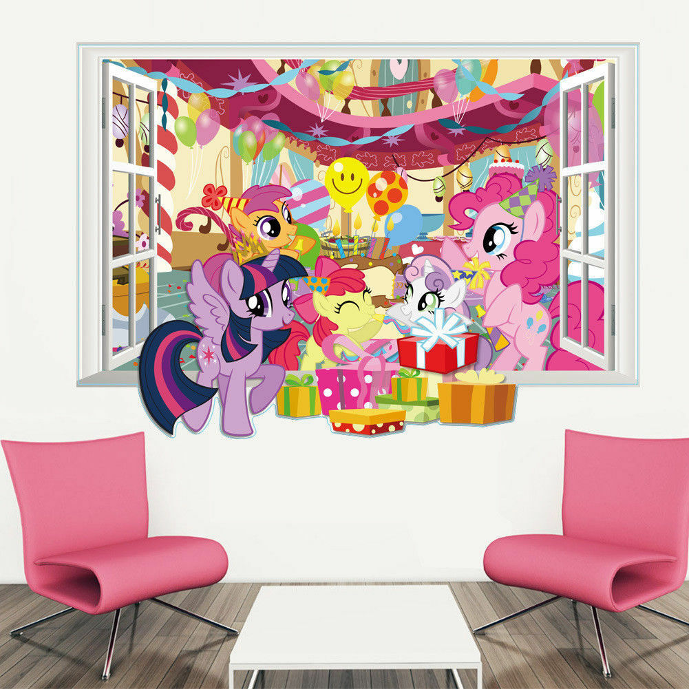3d Window Removable My Little Pony Wall Decal Sticker Kids Room Home
