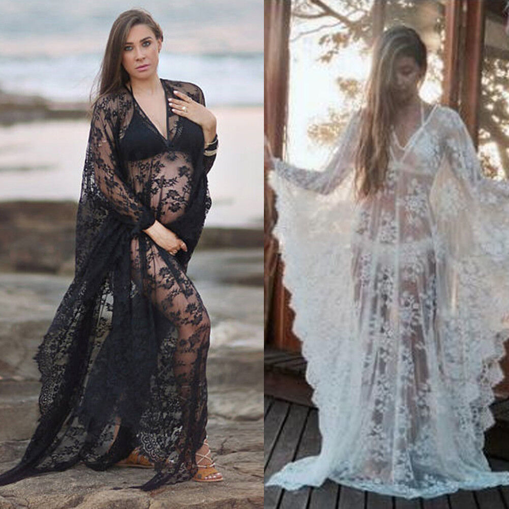 PREGNANT WOMEN SHEER Lace Long Sleeve Maxi Dress Maternity Gown for ...