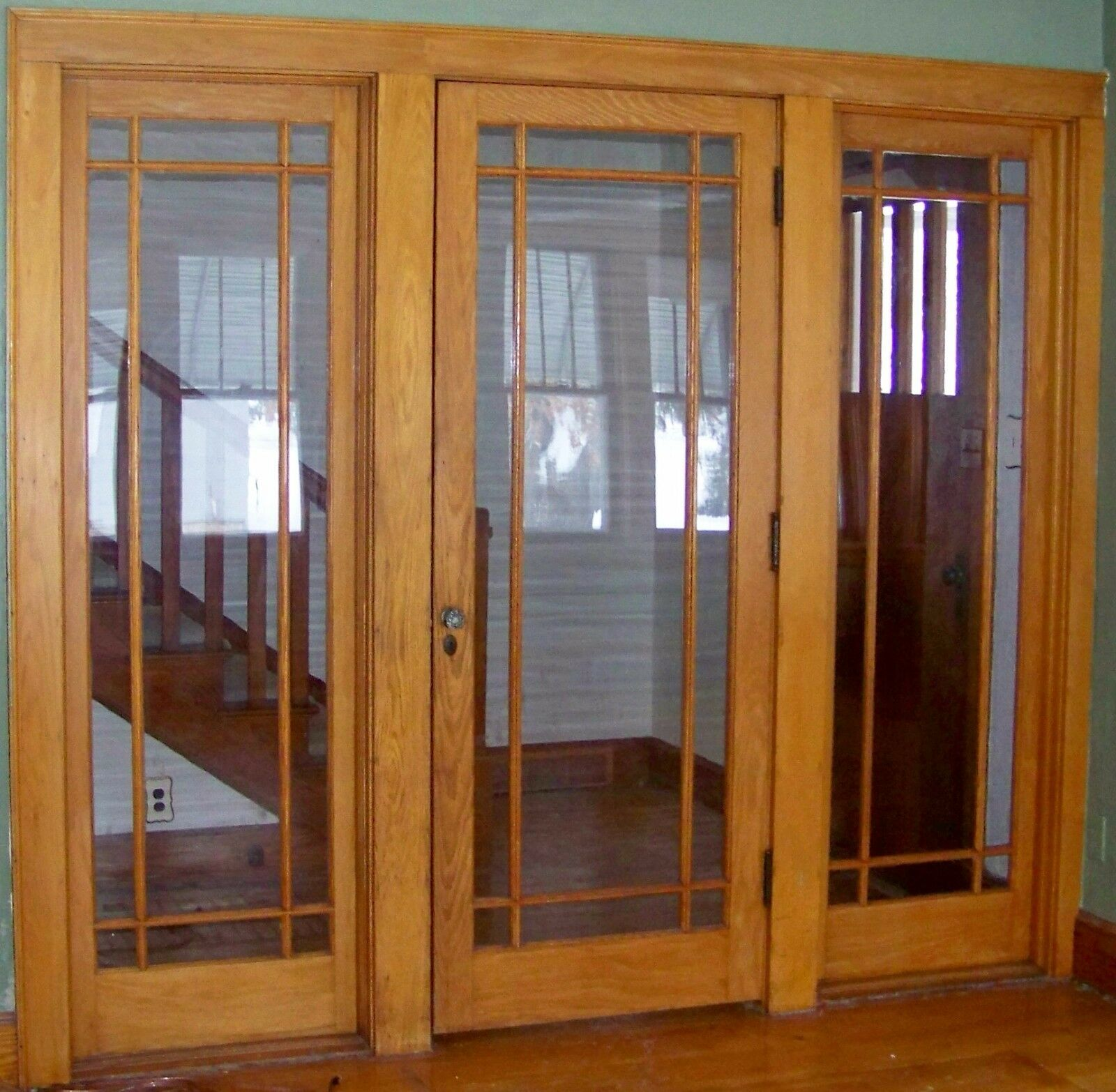 Antique Oak Entry Door With 2 Sides Windows From The 1940s Solid