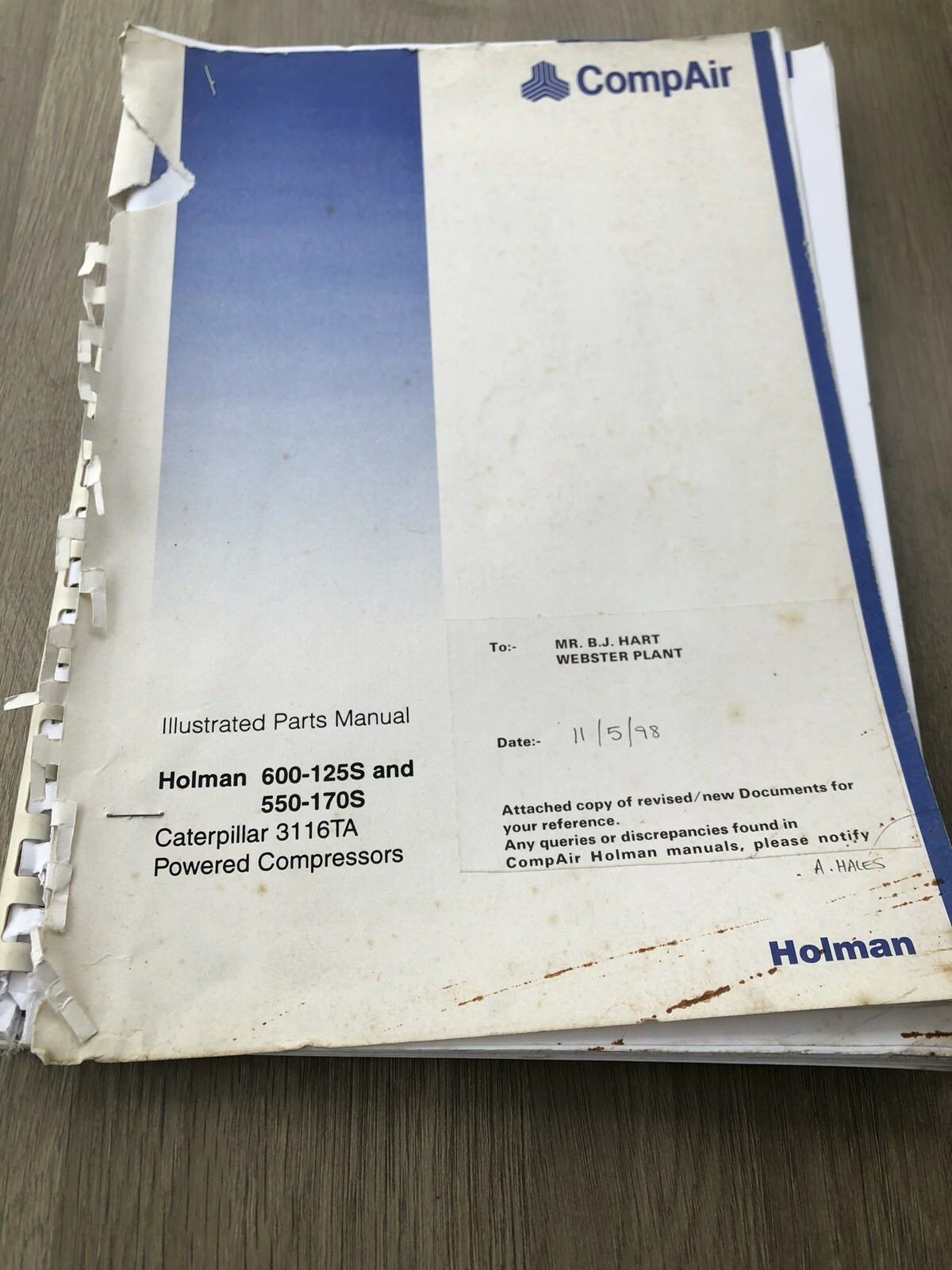 Compair Holman 600-125S 550-170S Portable Air Compressor Illustrated Parts  List 1 of 7Only 1 available See More
