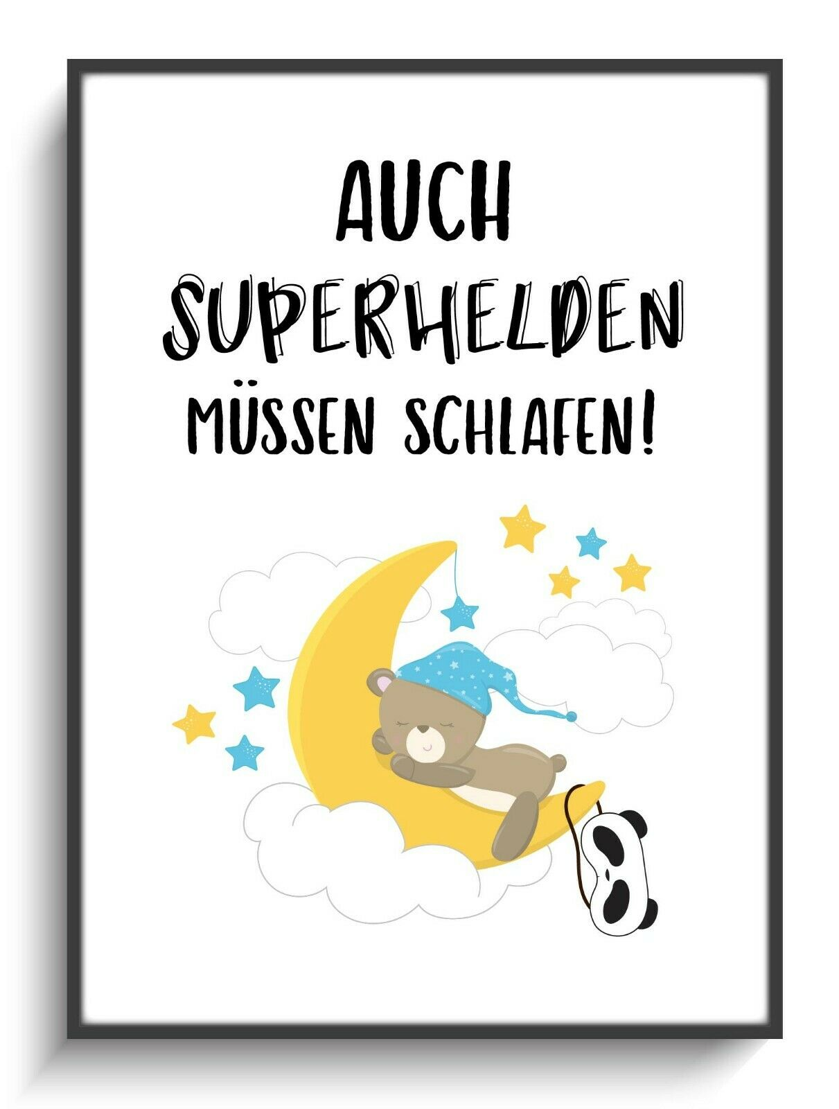 kinderzimmer poster a4 superheld schlafen 2 baby geschenk wand bild spruch deko eur 9 90. Black Bedroom Furniture Sets. Home Design Ideas