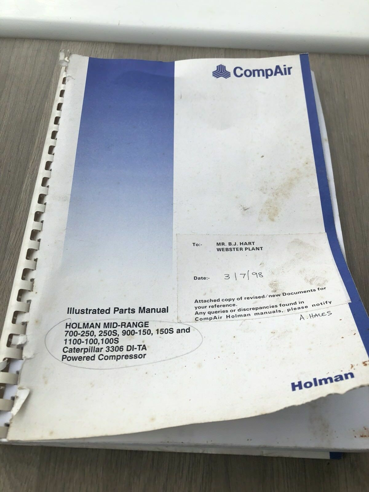 Compair Holman 700-250 900-150 1100-100 Air Compressor Illustrated Parts  List 1 of 5Only 1 available See More