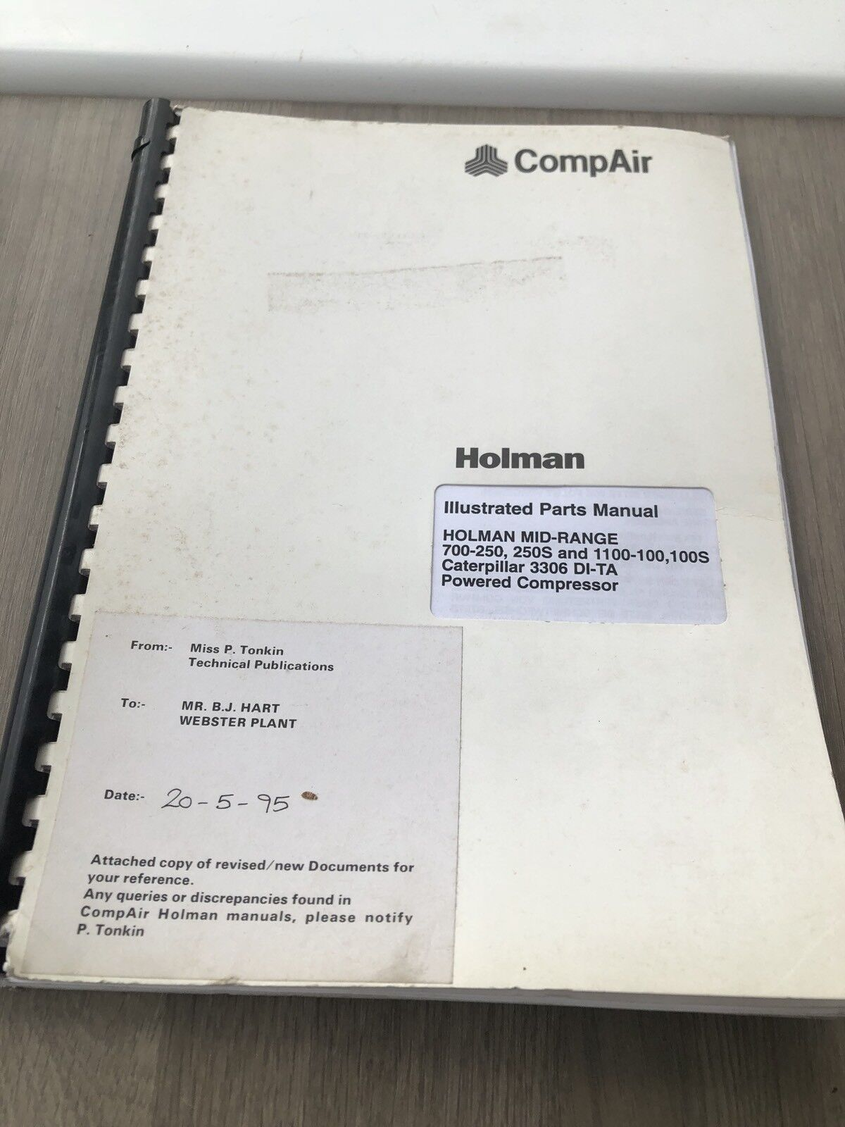 Compair Holman 700-250 1100-100 Air Compressor Illustrated Parts List Cat  Engine 1 of 5Only 1 available See More