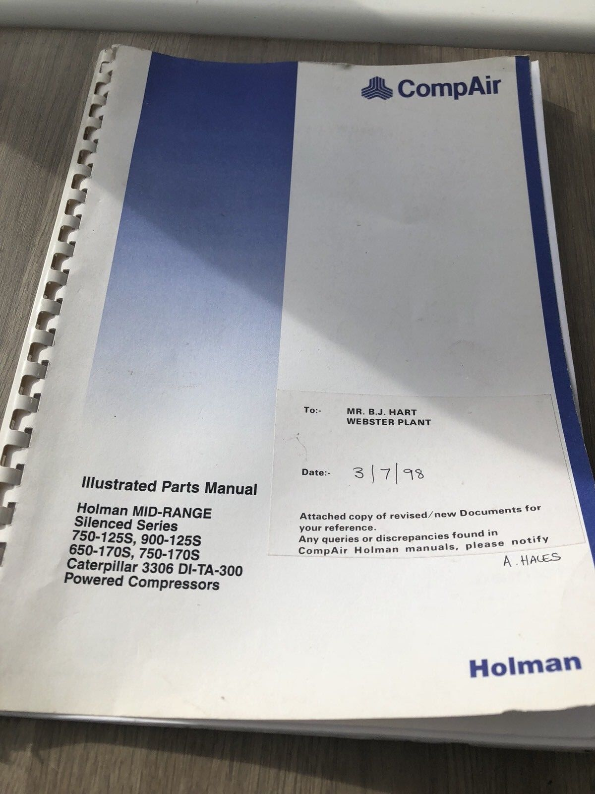 Compair Holman 750-125 900-125 750-170 Portable Air Compressor Parts Manual  1 of 5Only 1 available See More