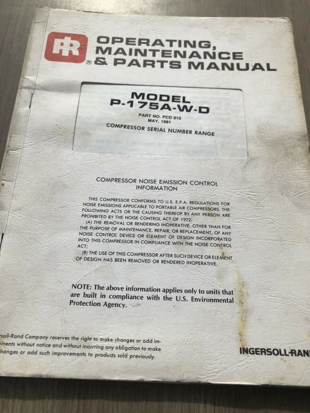 Ingersoll Rand Usa Built P175 Air Compressor Operation Part Maintenance  Manual 1 of 4Only 1 available ...