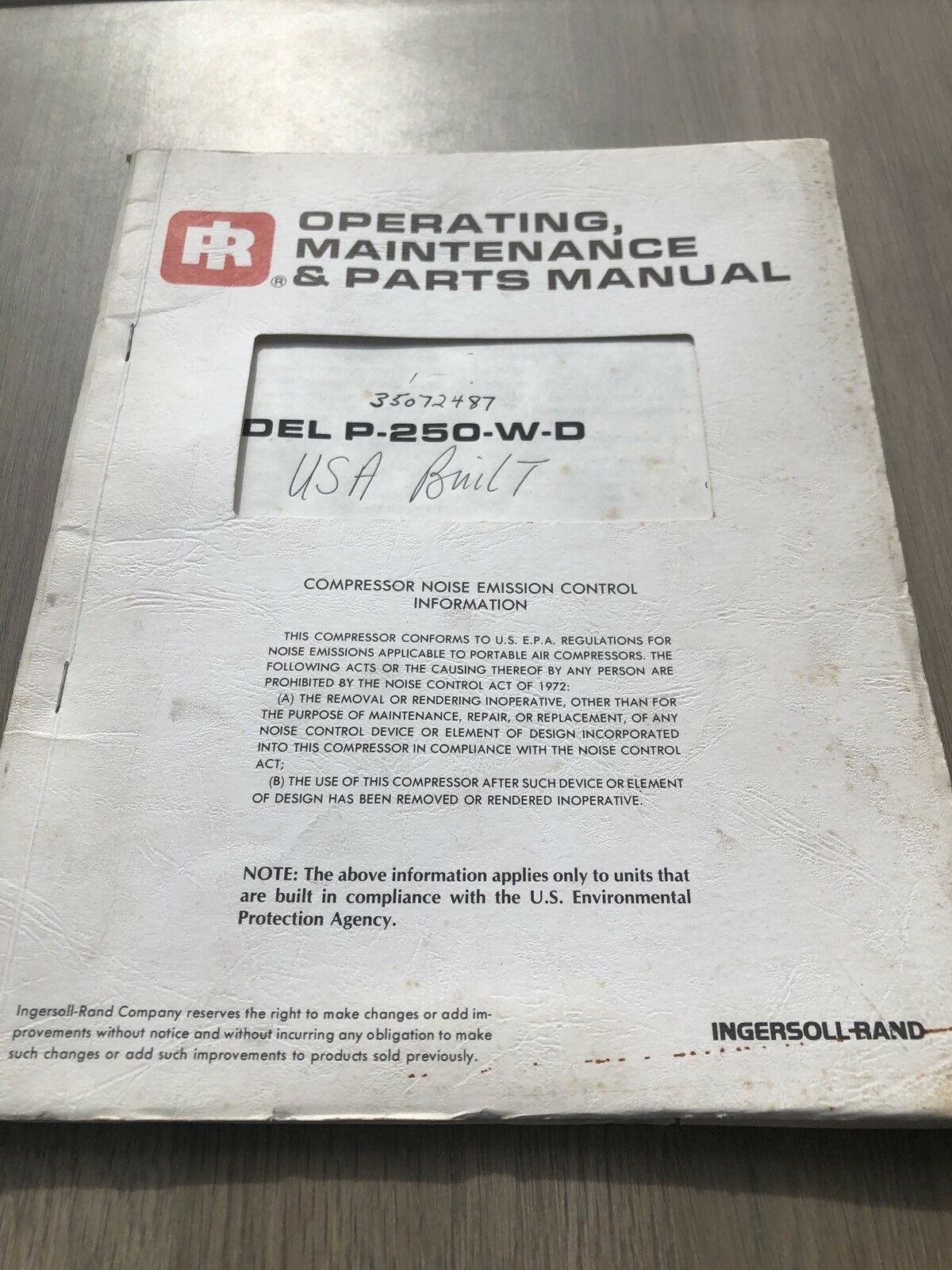 Ingersoll Rand American Built Usa P250 Air Compressor Parts Manual Inc Vat  1 of 4Only 1 available ...