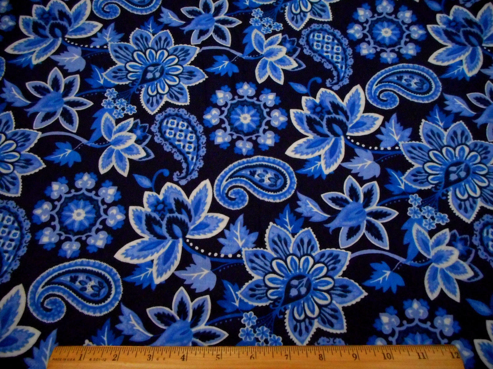 Cotton Fabric By The Yard Blue White Paisley Fl On Navy Quilting 1 Of 2 See More