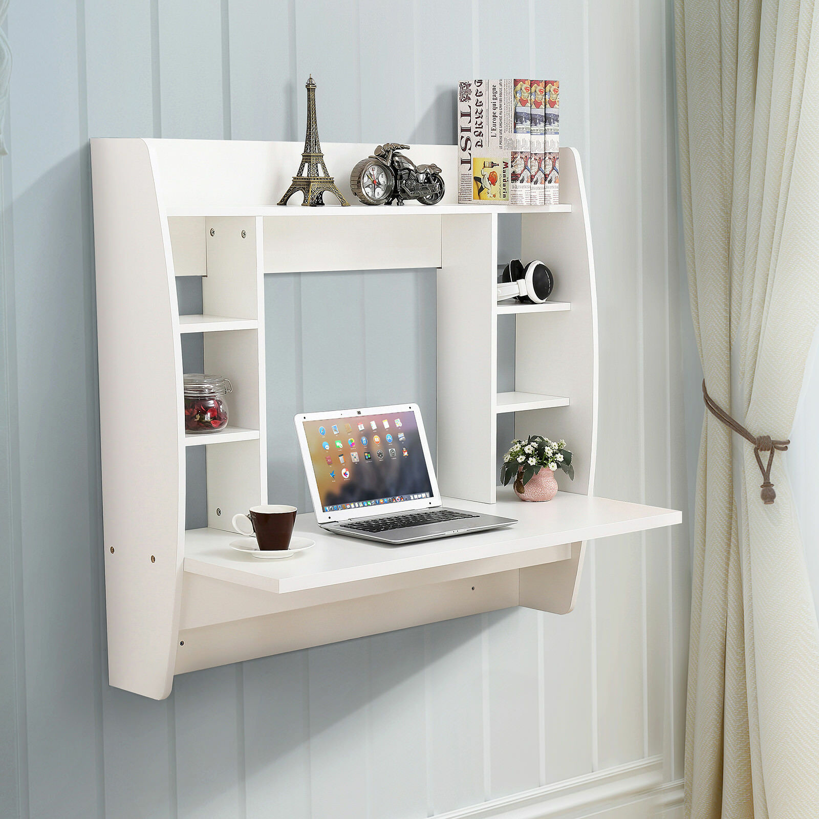 WHITE FLOATING WALL Mounted Office Computer Desk Home Office Table ...