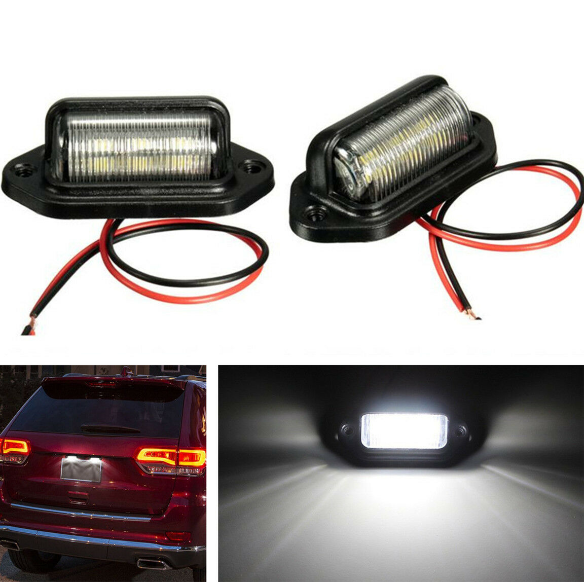 2pcs 12v Car Truck License Plate White Led Light Lamp 6000k Leds On For Cars And Trucks Waterproof Universal 1 Of 12free Shipping