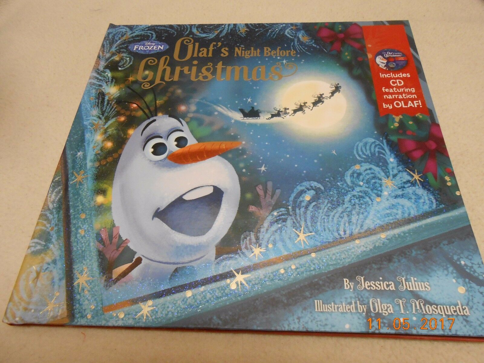 DISNEY FROZEN OLAF\'S Night Before Christmas Story Book & Audio CD ...