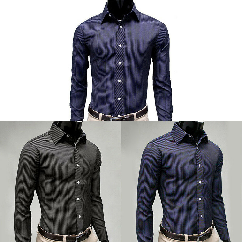 M 2xl Men Business Casual Pure Dress Shirt Long Sleeve Striped Slim Tops Wedding 1 Of 12free Shipping See More