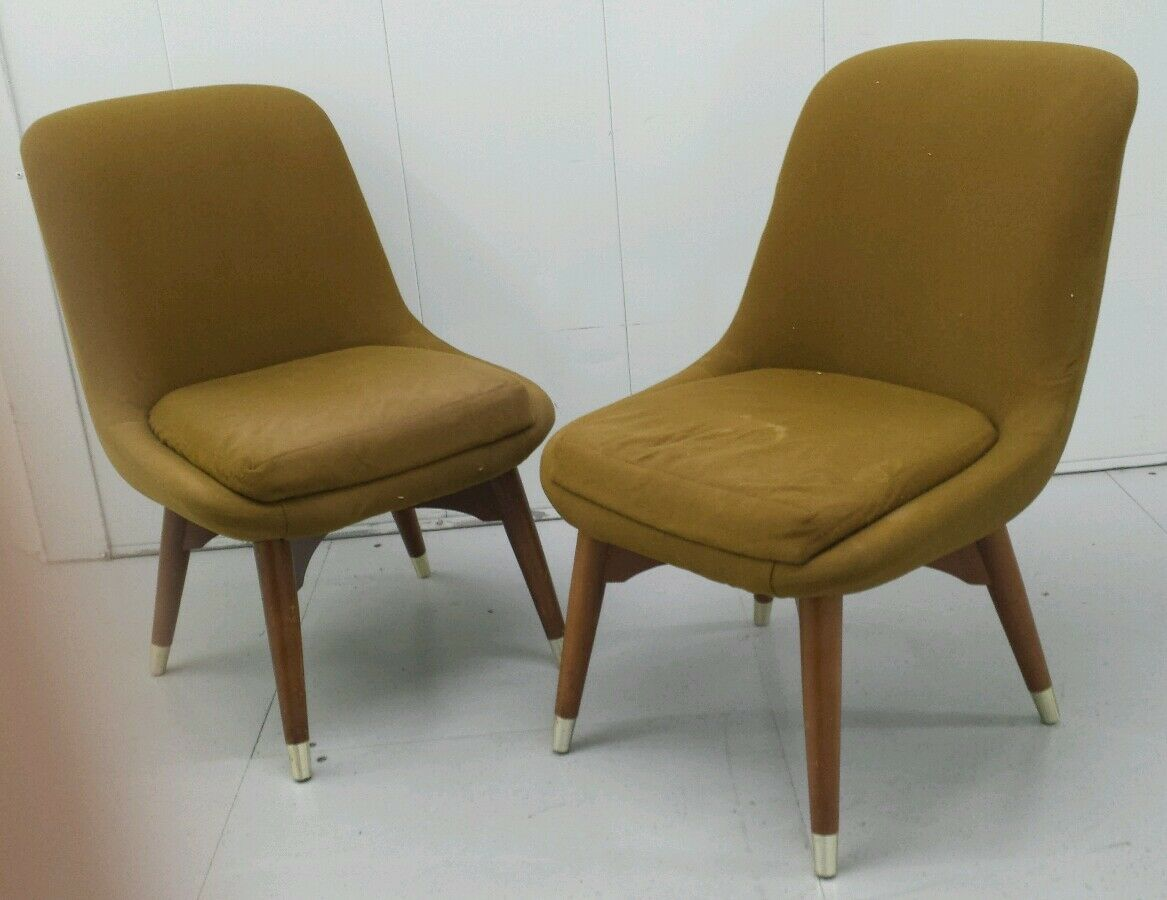 PAIR OF MID century small egg/tub chairs atomic vintage for refurb ...
