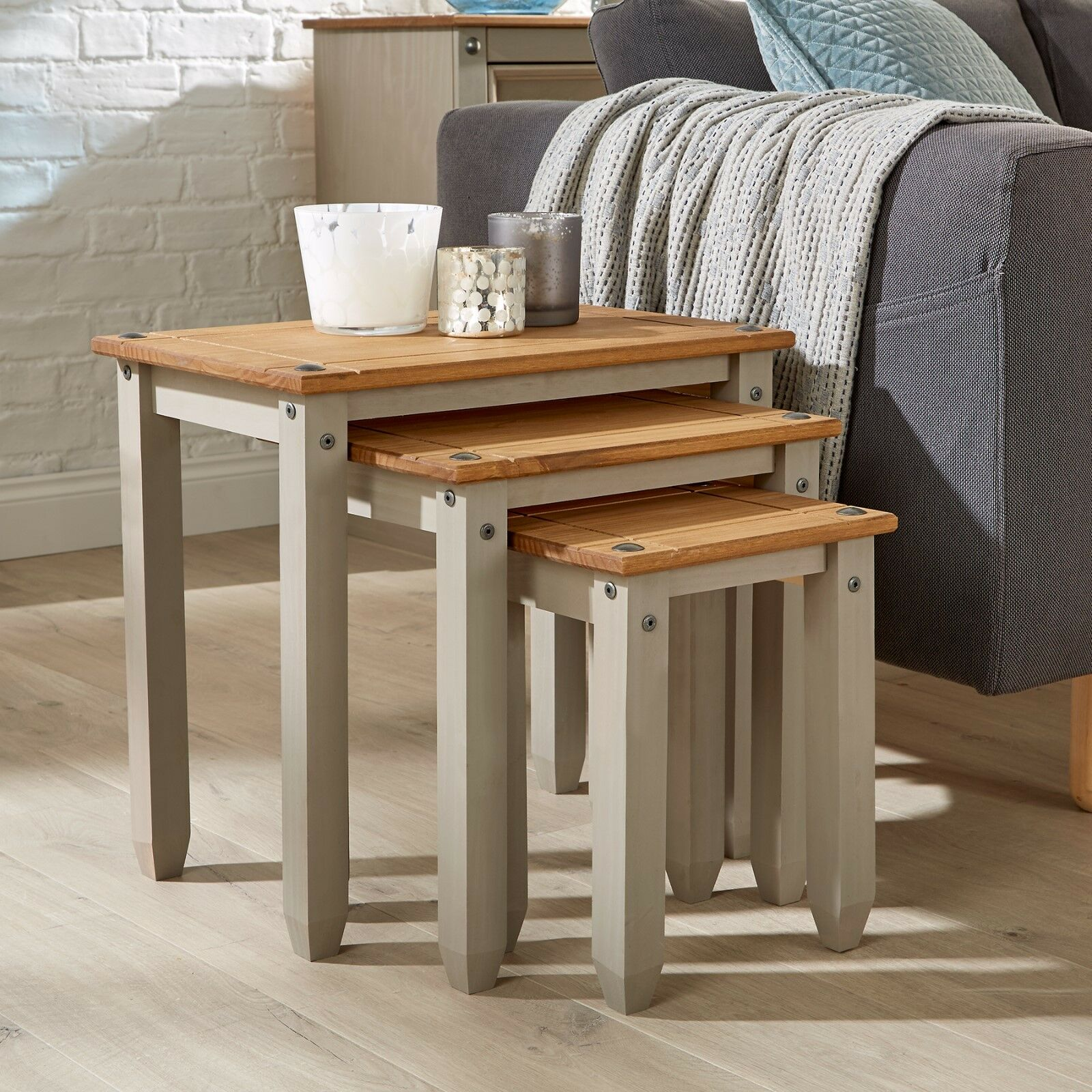 CORONA GREY PINE Nest of Tables Set of 3 Occasional Coffee Side ...