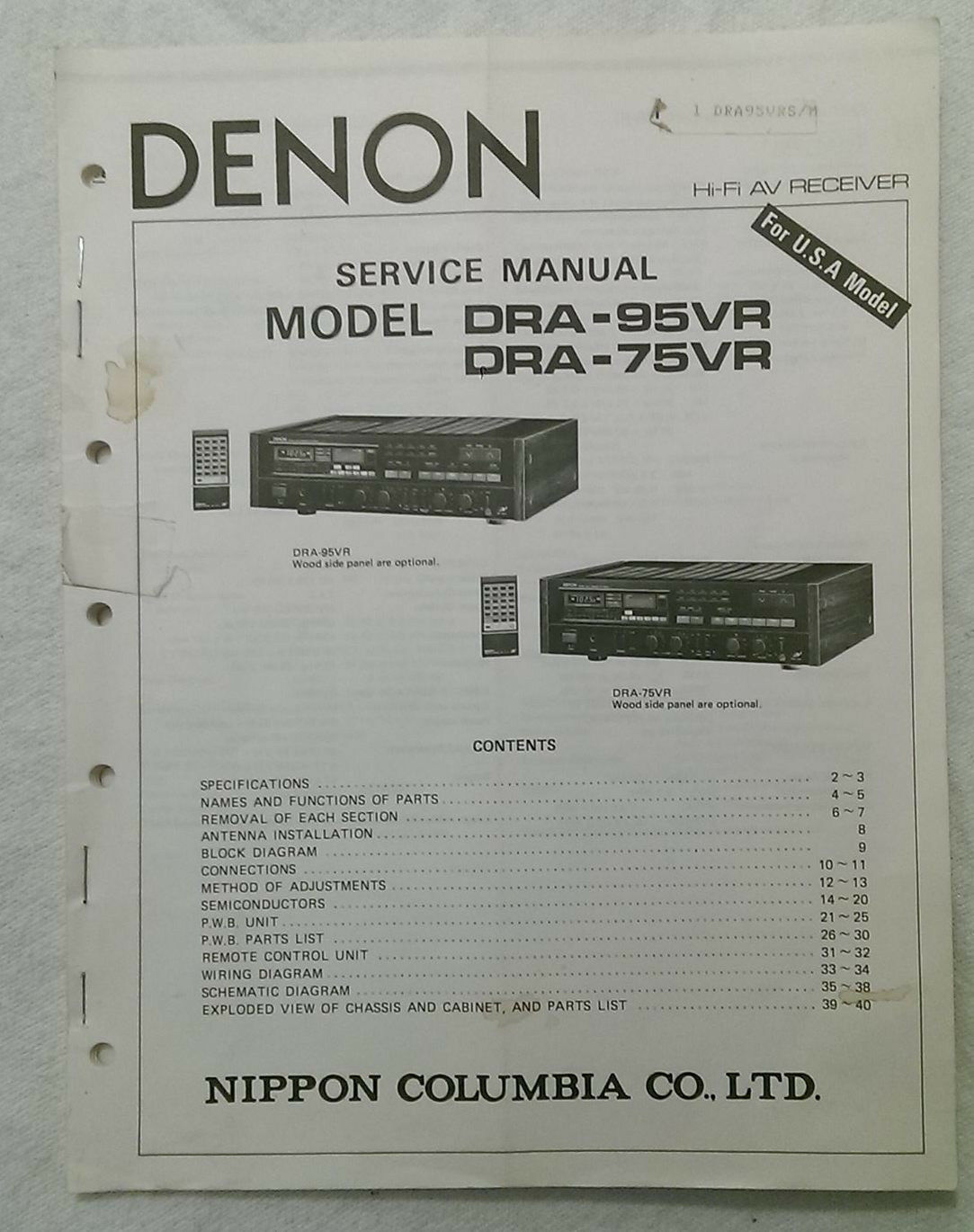 Denon DRA-95VR/DRA-75VR Service Manual 1 of 1Only 1 available See More
