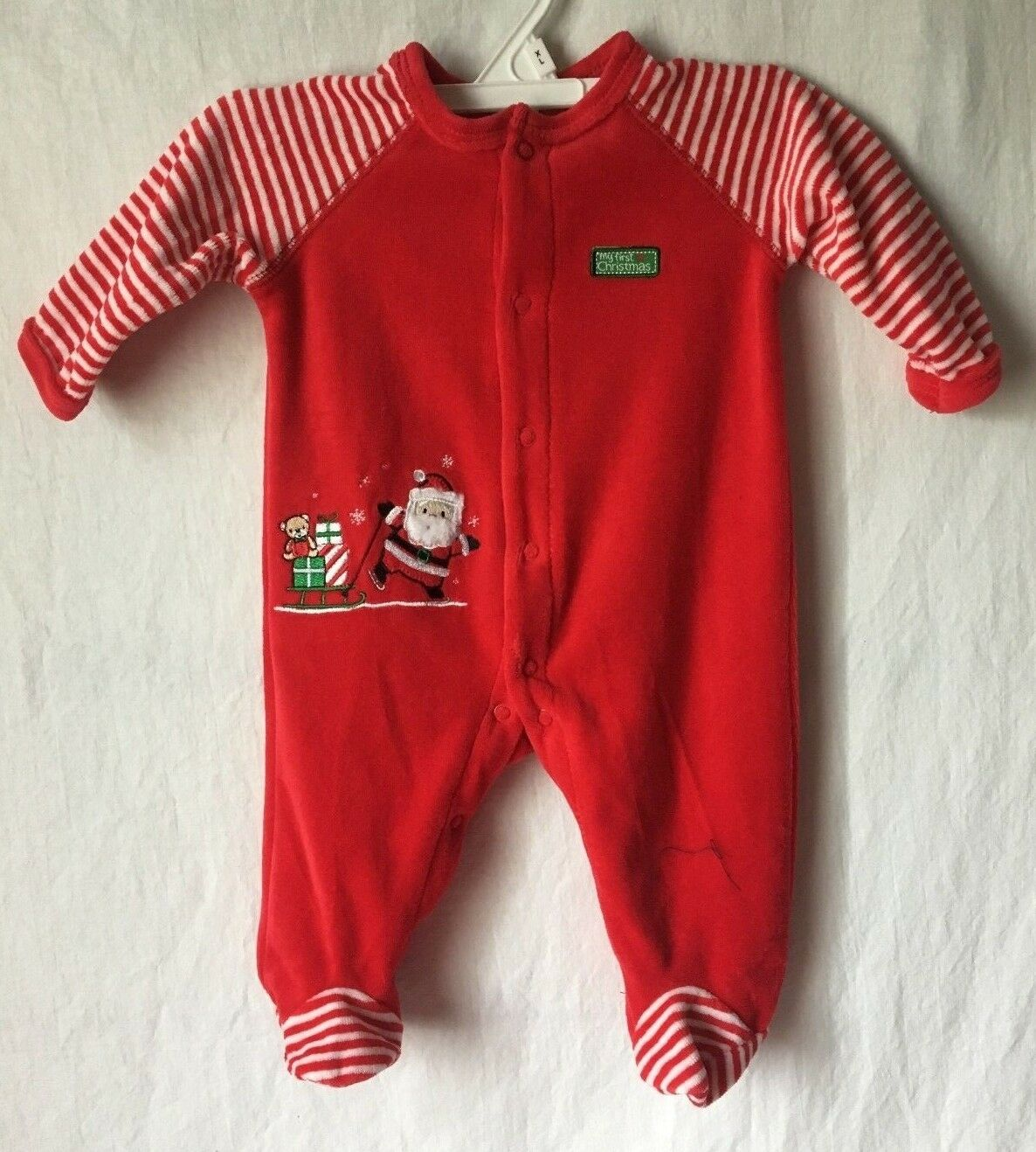 little me my first christmas pajamas sleeper footed santa claus baby boy or girl 1 of 7only 2 available see more