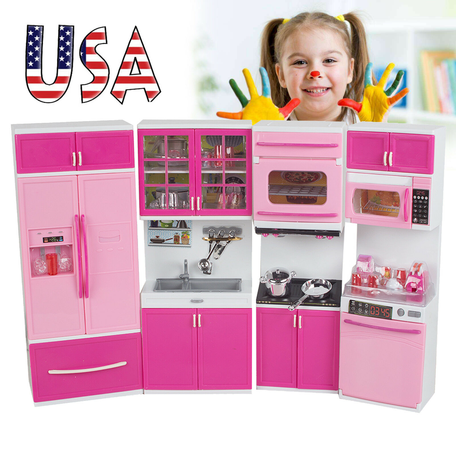US Kids Large Kitchen Playset Girlsu0026Boys Pretend Cooking Toy Play Set Pink  Gift 1 Of 8 See More