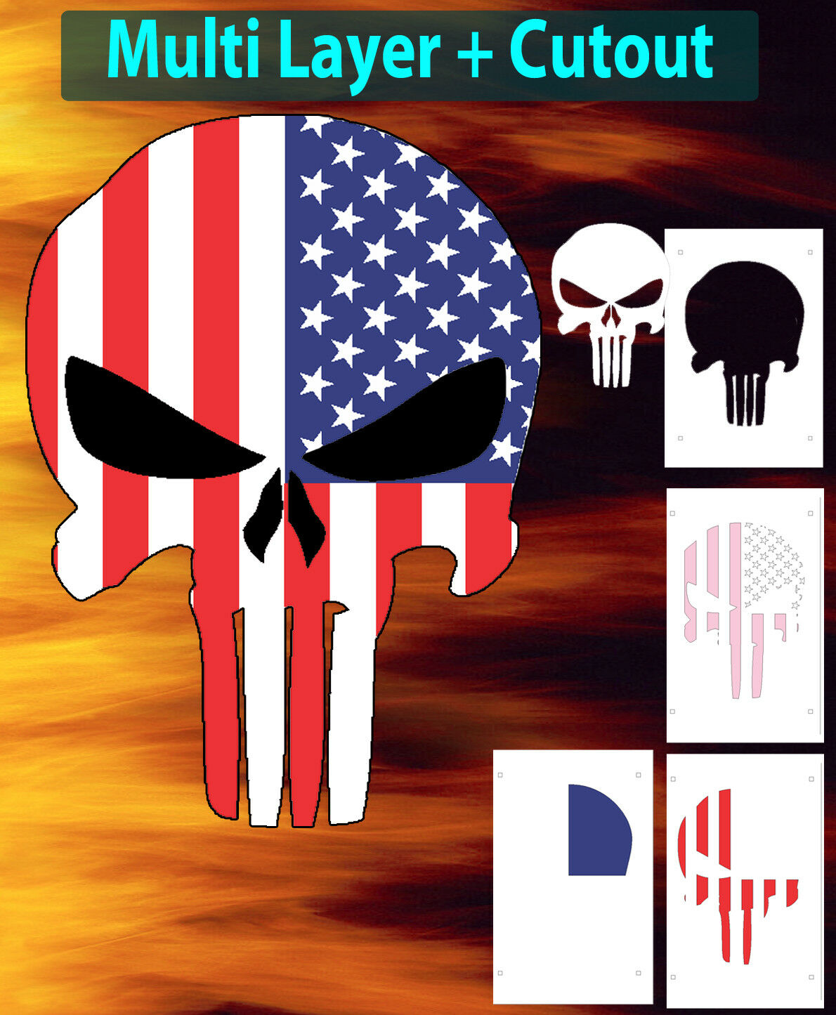 Punisher Skull American Flag Airbrush Stencil Multi Layer Template 1 Of 1FREE Shipping
