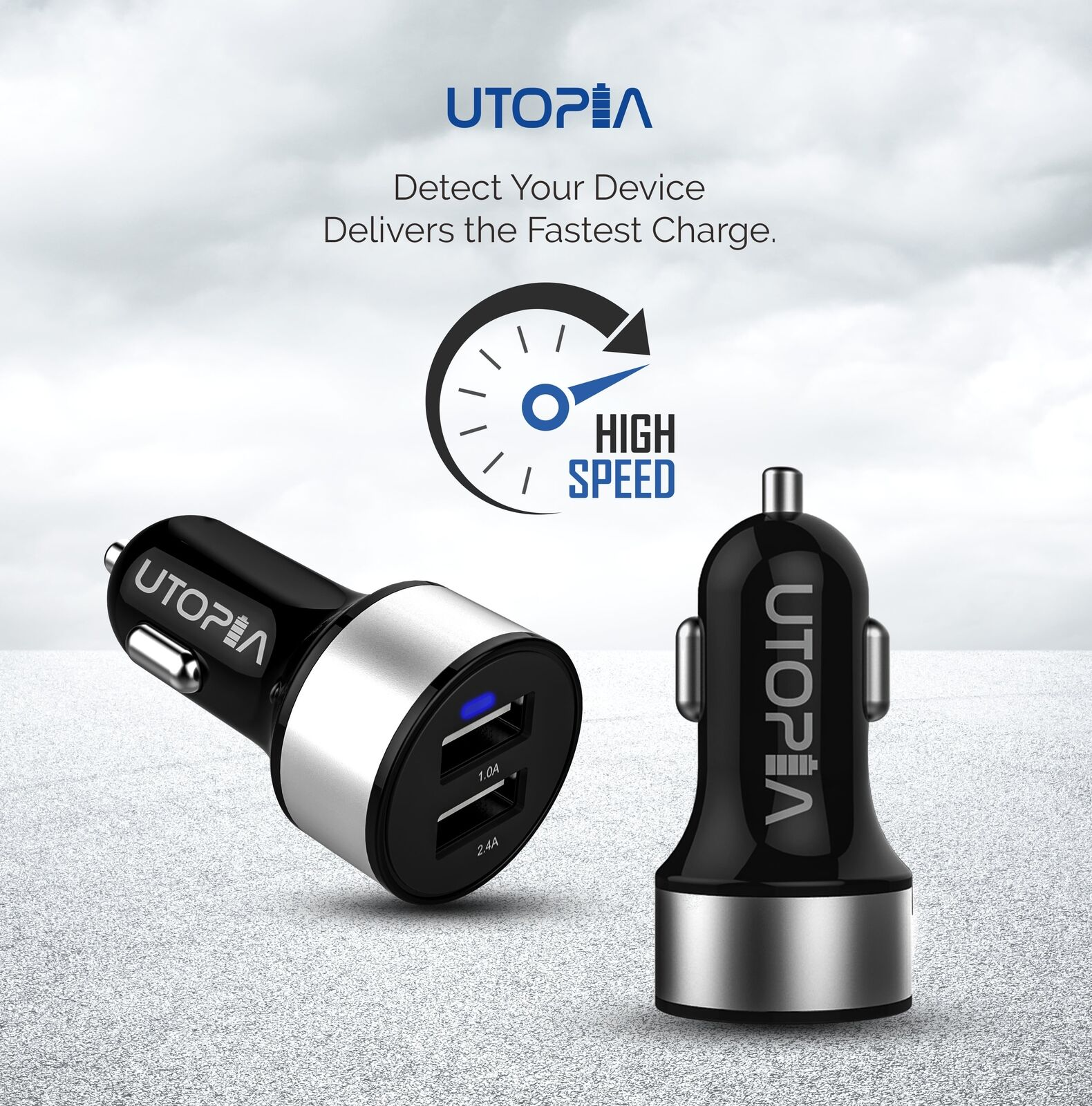 Usb Car Charger Adapter Dual 2 Smart Port Fast Charging 12v 24a Spigen Compact 1 Of 9free Shipping