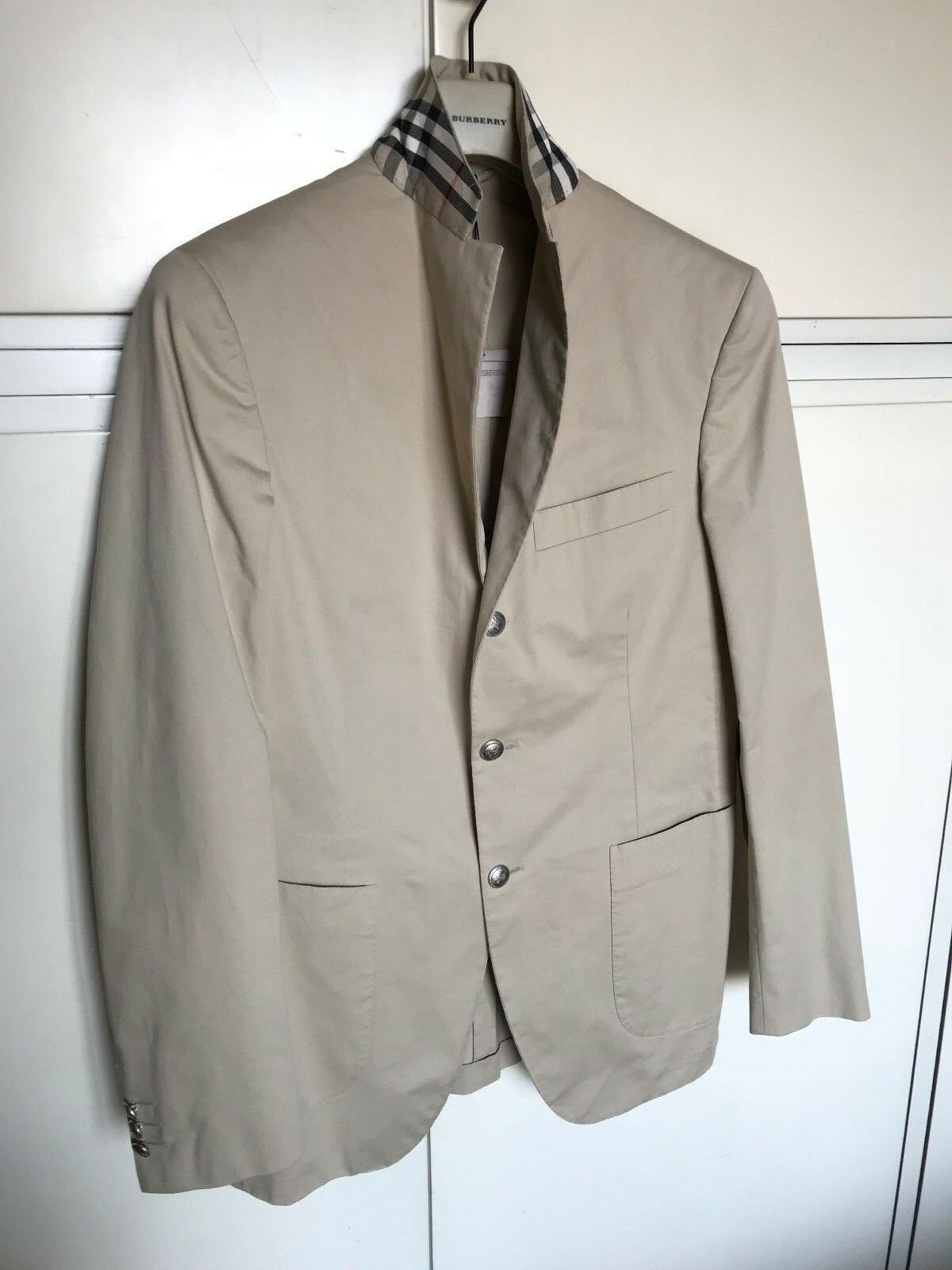 men 48 beige GIACCA jacket UOMO BURBERRY LONDON tg check colletto Xwwvq4Z