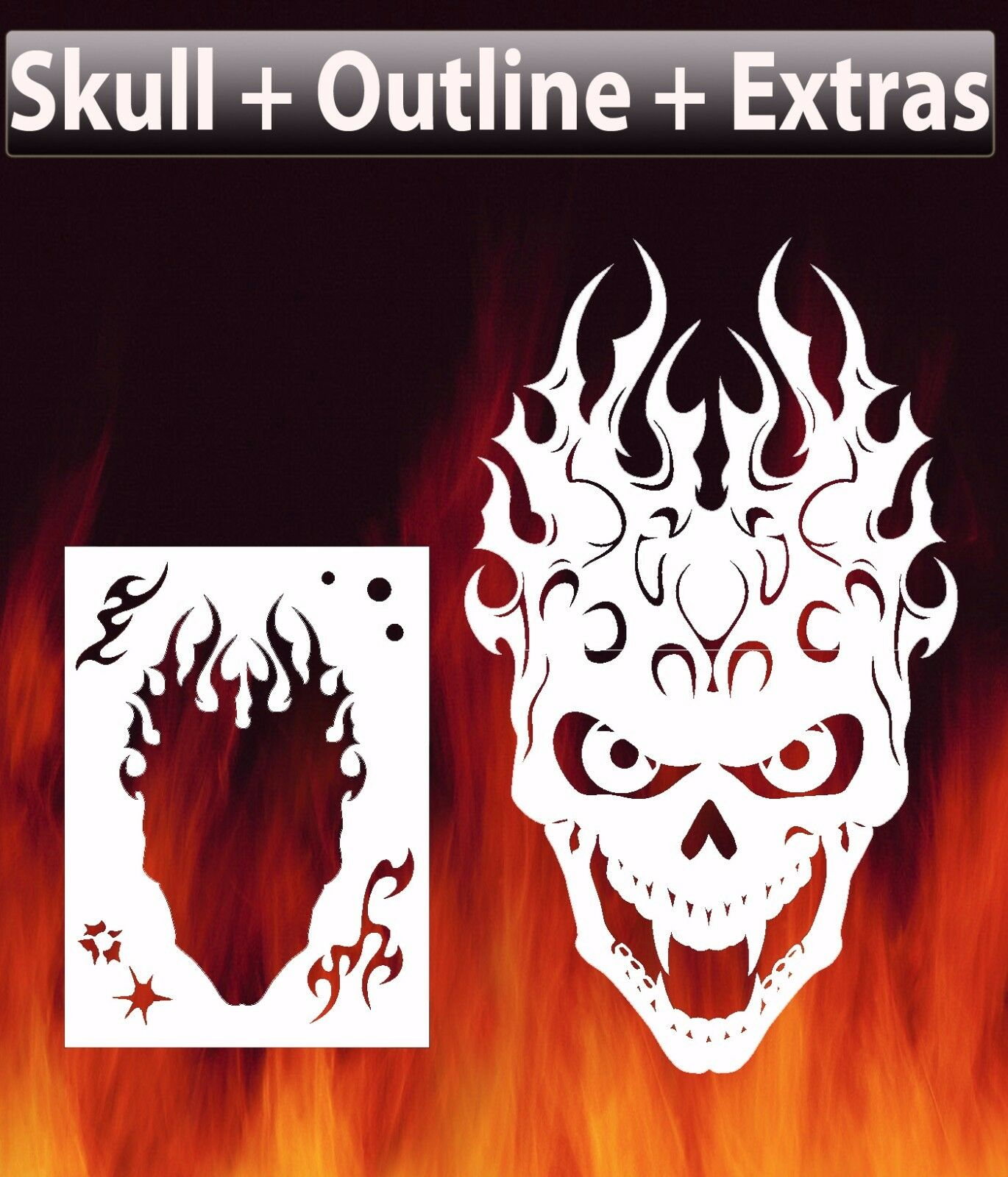 flame skull 2 airbrush stencil spray vision template 12 98 picclick