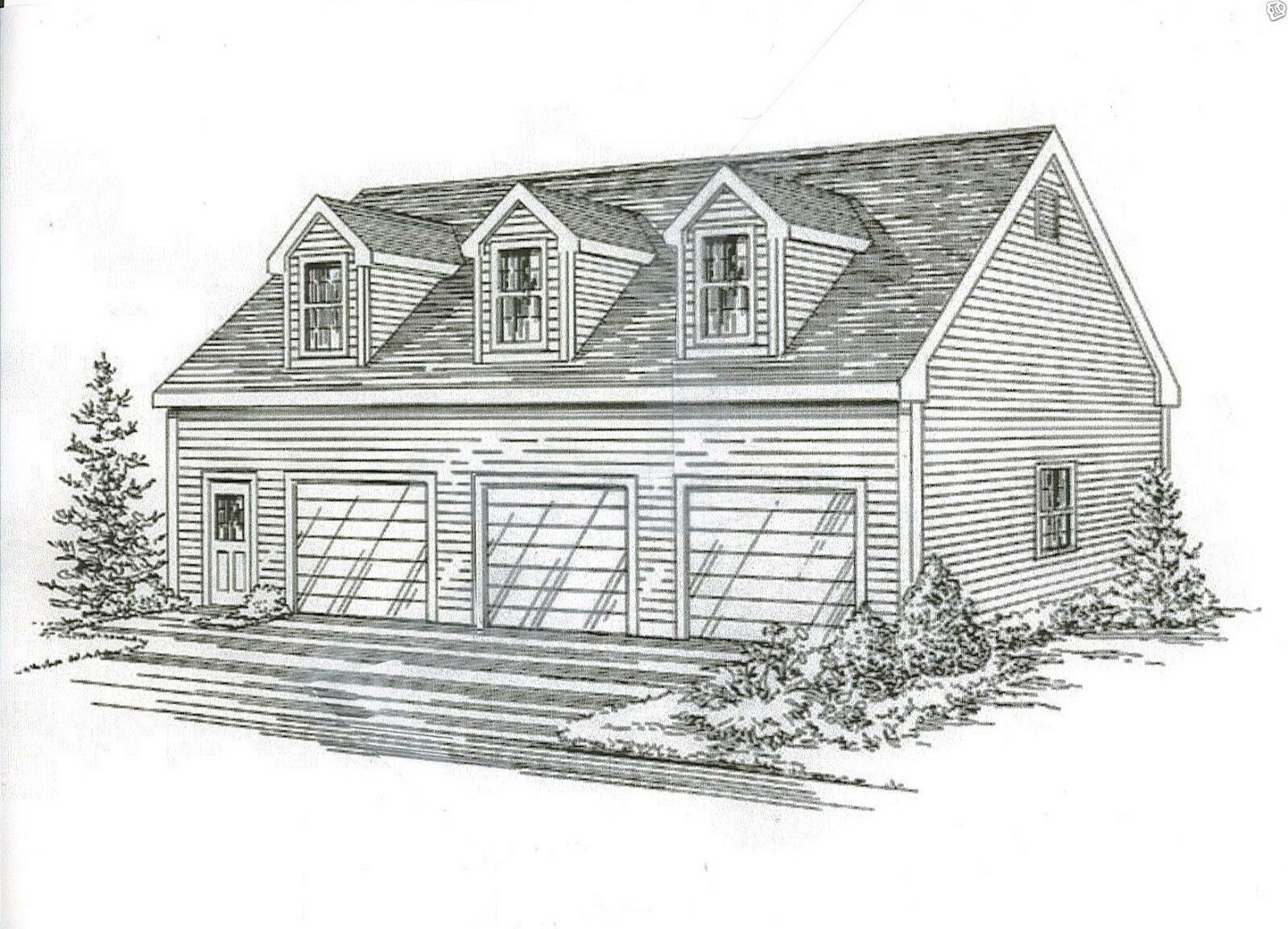 42x32 3 car garage building blueprint plans with walk up open loft 42x32 3 car garage building blueprint plans with walk up open loft area 1 of 2free shipping 42x32 3 car garage building blueprint malvernweather Image collections