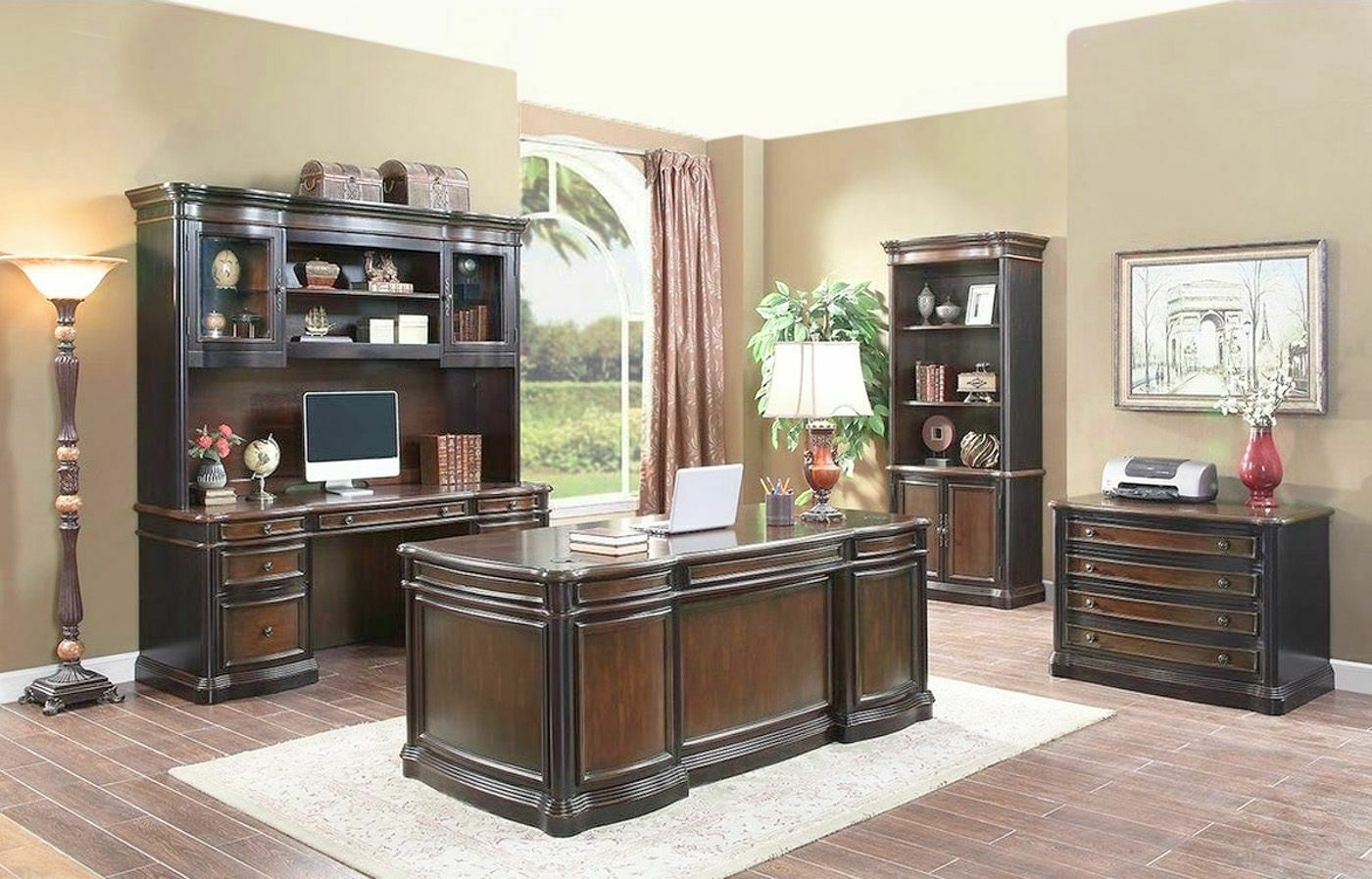 Wood 3 Piece Executive Office Desk Credenza U0026 Hutch 1 Of 1Only 2 Available  See More