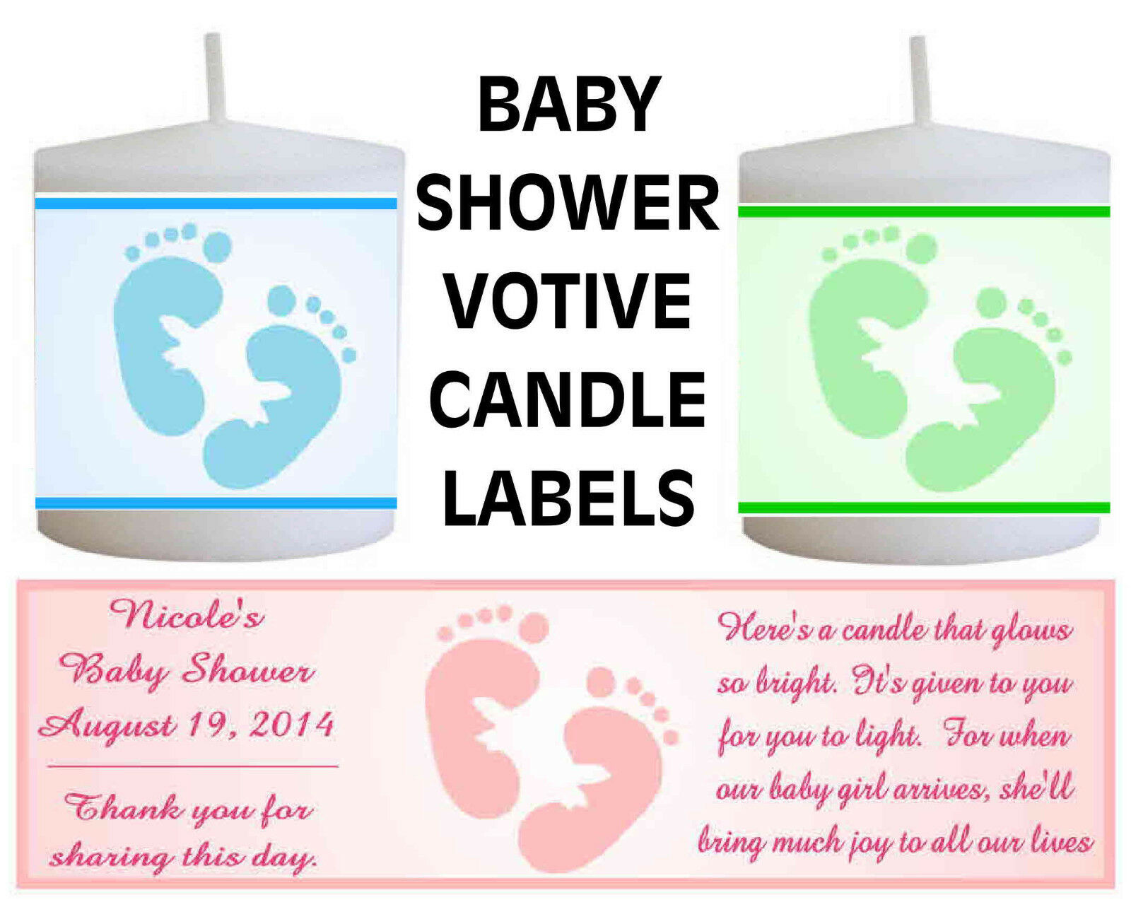 14 Personalized Baby Shower Favors Votive Candle Labels 399