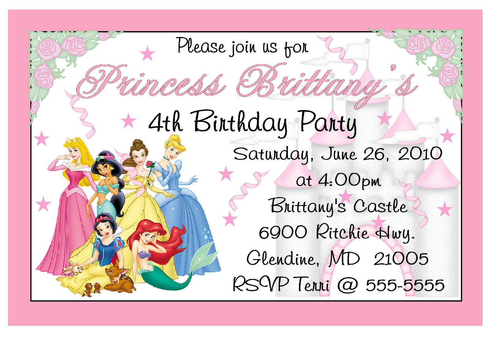 DISNEY PRINCESS CUSTOM BIRTHDAY INVITATIONS - $6.99 | PicClick