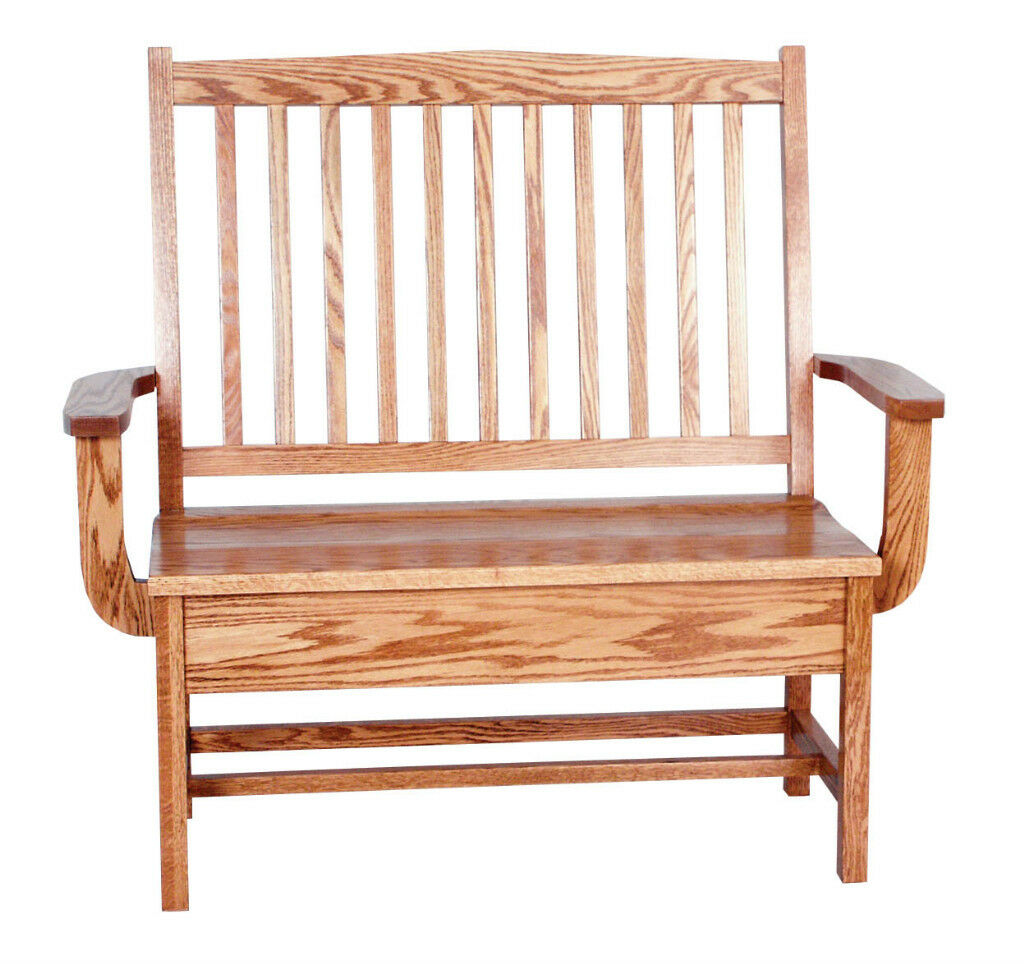 Amish Oak Bench Wooden Wood Entry Benches Storage Seat Picclick