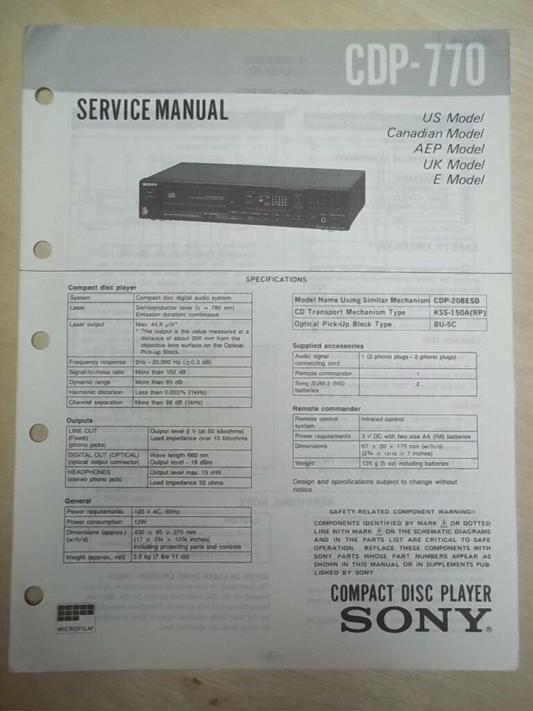 sony service repair manual cdp 770 cd player original 11 98 rh picclick com cd player repairs mansfield notts How a CD Player Works