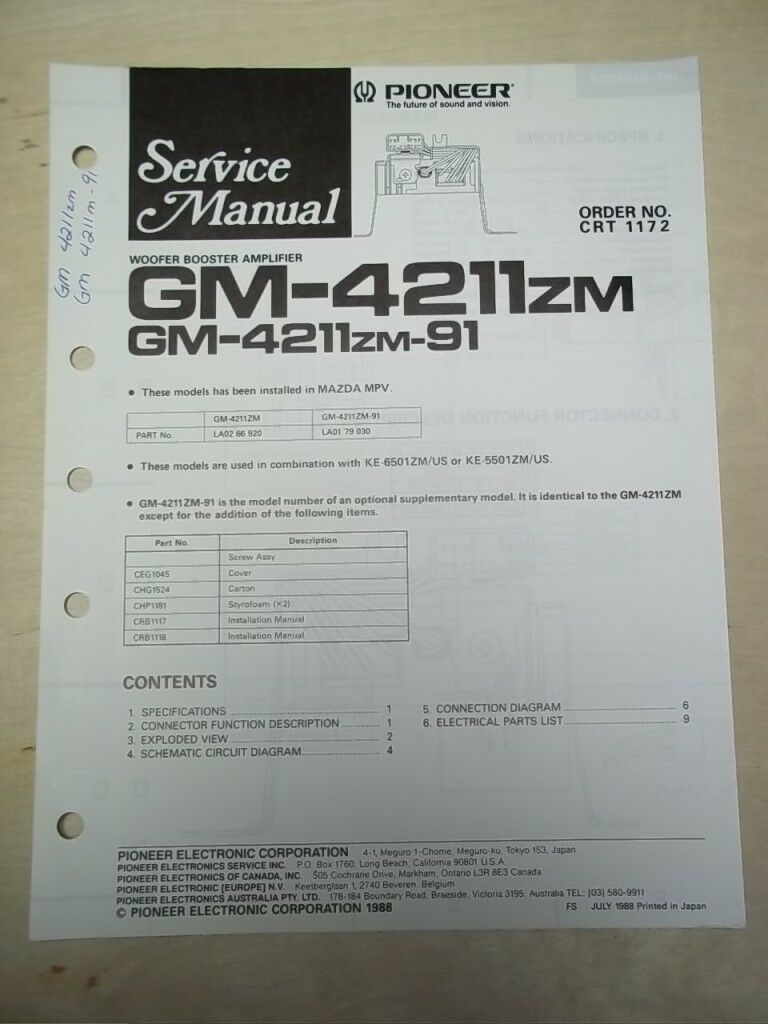 Pioneer Service Manual~GM-4211zm Woofer Amplifier~Original~Repair 1 of  1Only 1 available ...