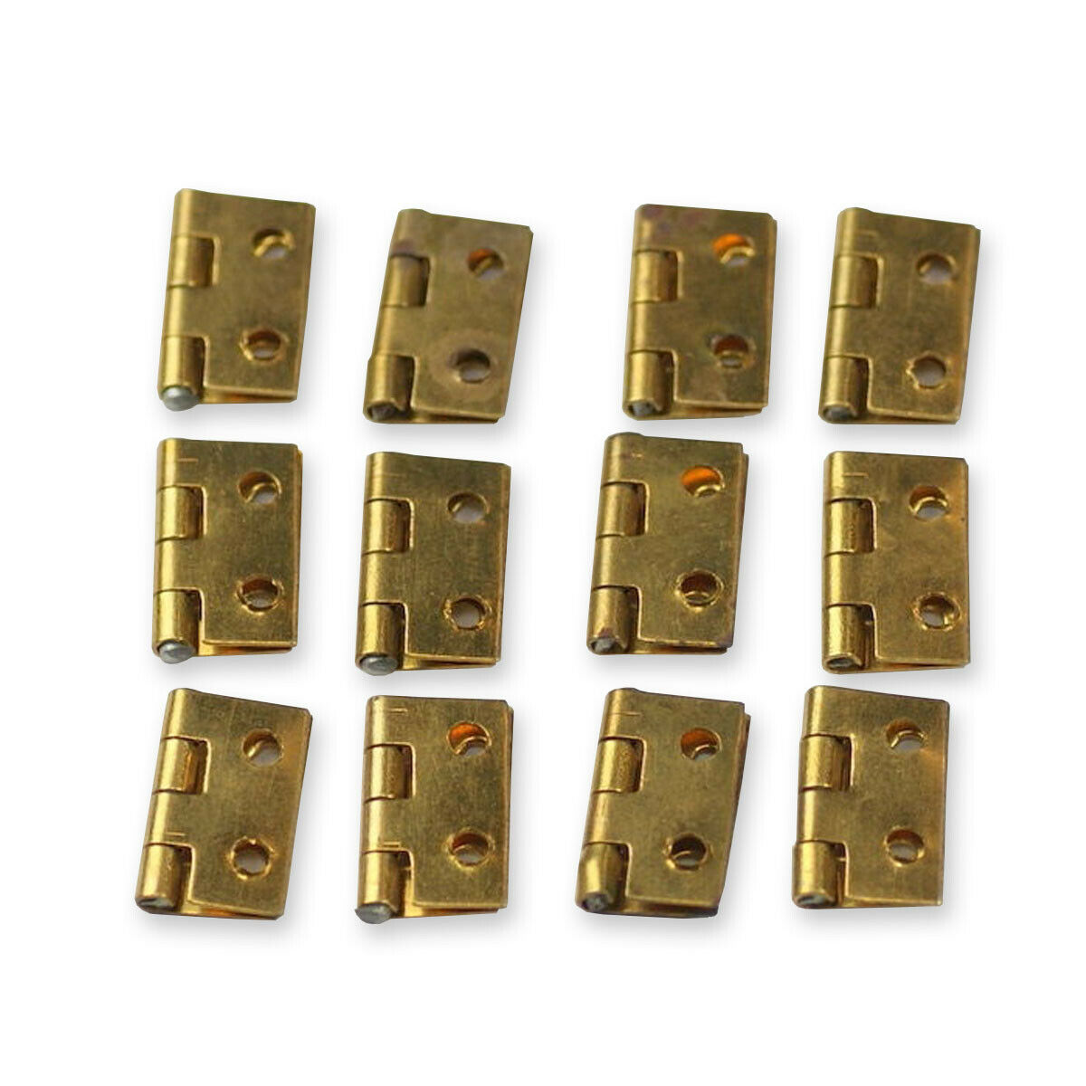 12x Small BRASS HINGES clock case repairs parts clockmakers + other uses