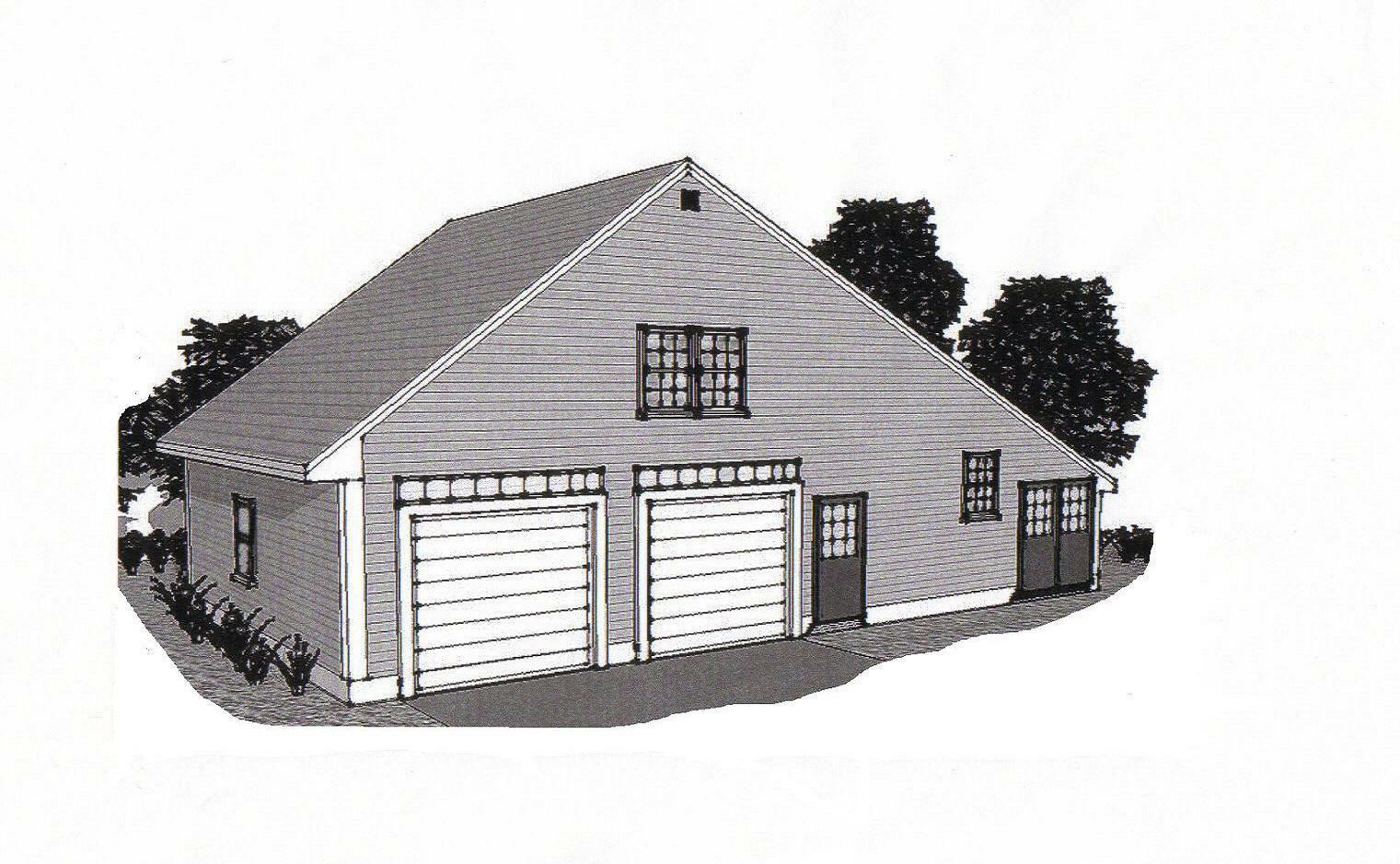 38x24 2 car garage building blueprint plans w work shop for Garage and storage building plans