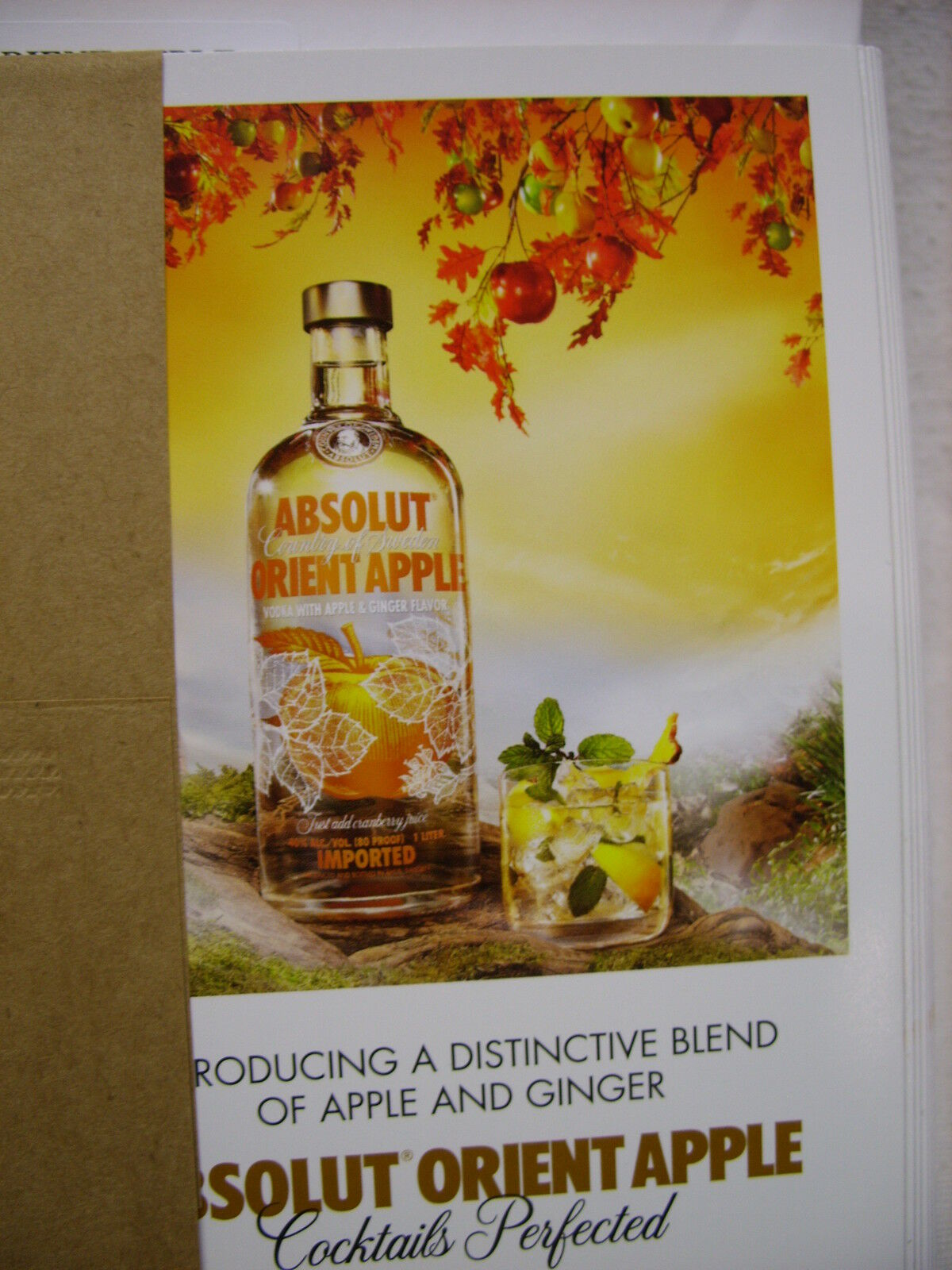 ABSOLUT Orient Apple Vodka Sided Table Tent New - 3 sided table tents