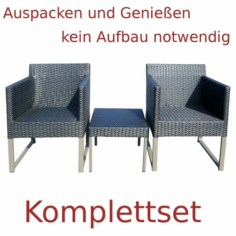 polyrattan set 2 sessel 1 hocker outdoor alu lounge sessel grau eur 249 90 picclick de. Black Bedroom Furniture Sets. Home Design Ideas