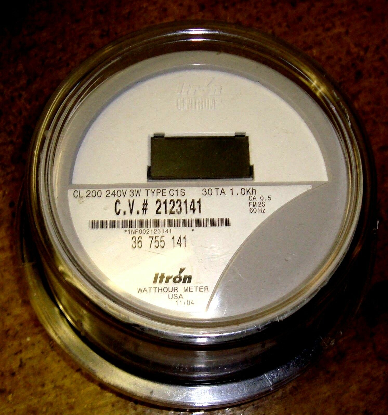 Itron Electric Meters : Itron watthour meter kwh c s centron volts