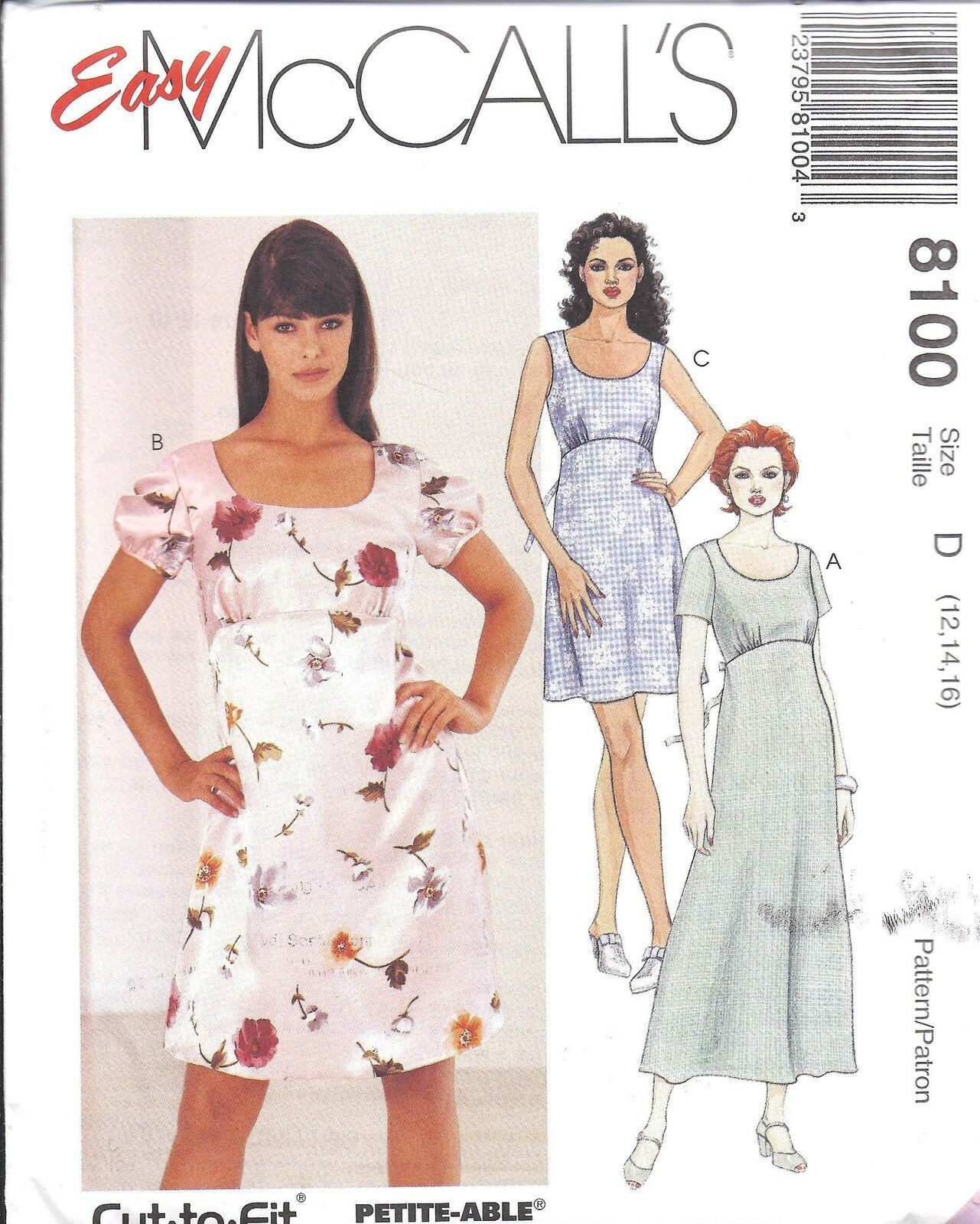 8100 UNCUT MCCALLS Vintage Sewing Pattern Easy Pullover Dress Empire ...