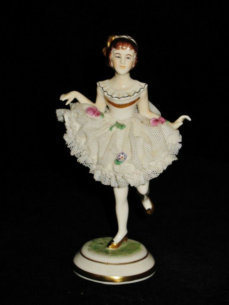 Porcelain Lace Dancer Figurine marked Dresden, Germany with Crown