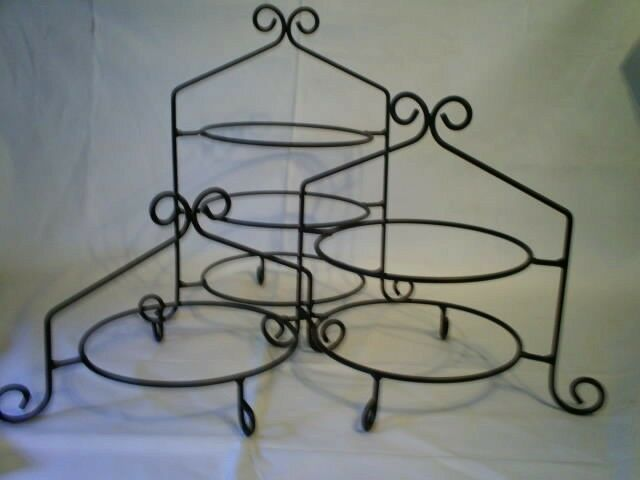 Black Iron Pie Plate Holder Rack 3 Tier Stand Usa 1 Of 2 See More